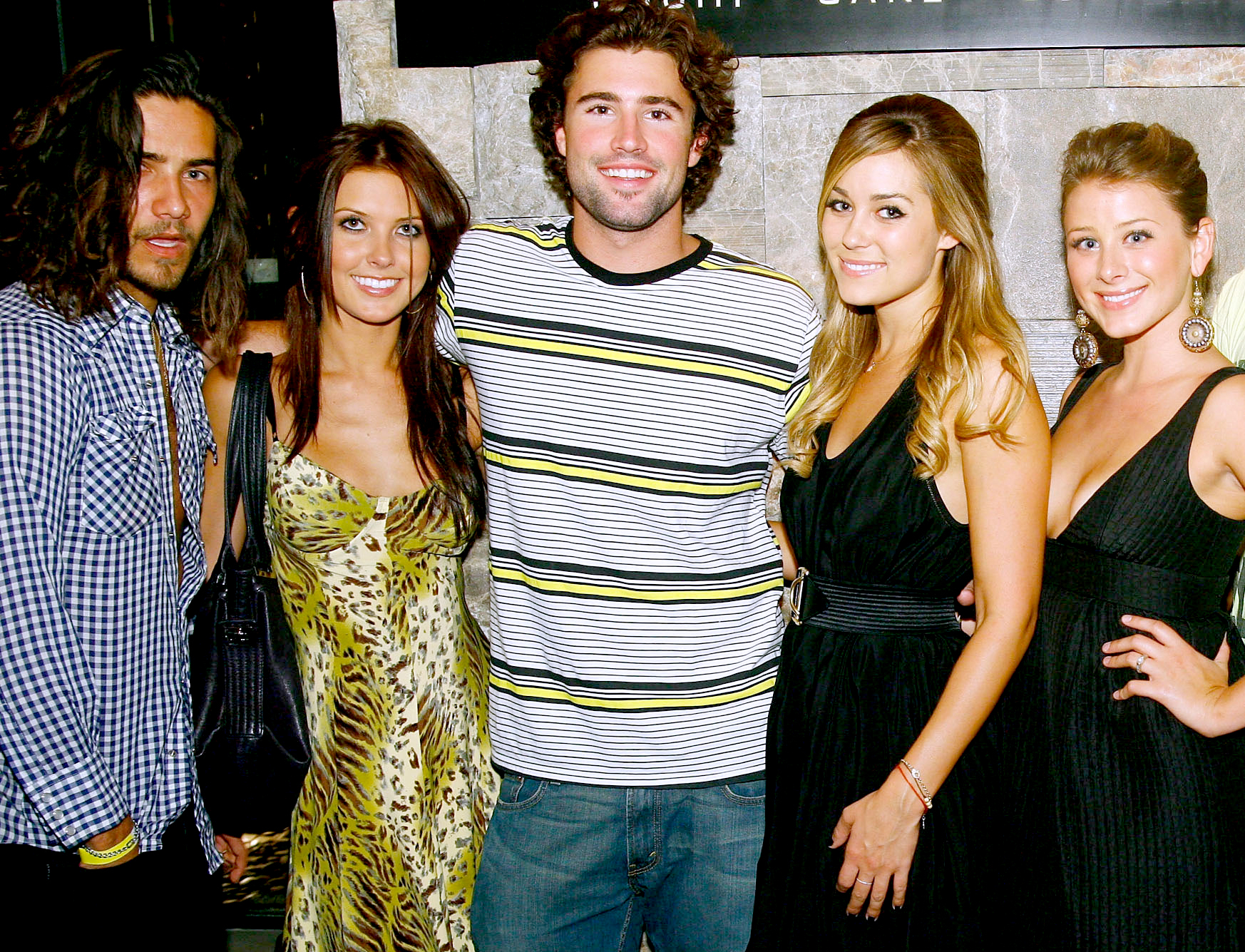 Justin Bobby, Audrina Patridge, Brody Jenner, Lauren Conrad, and Lo Bosworth arrive at Social House prior to Jenner's birthday party at PURE Nightclub on August 18, 2007 in Las Vegas, Nevada.