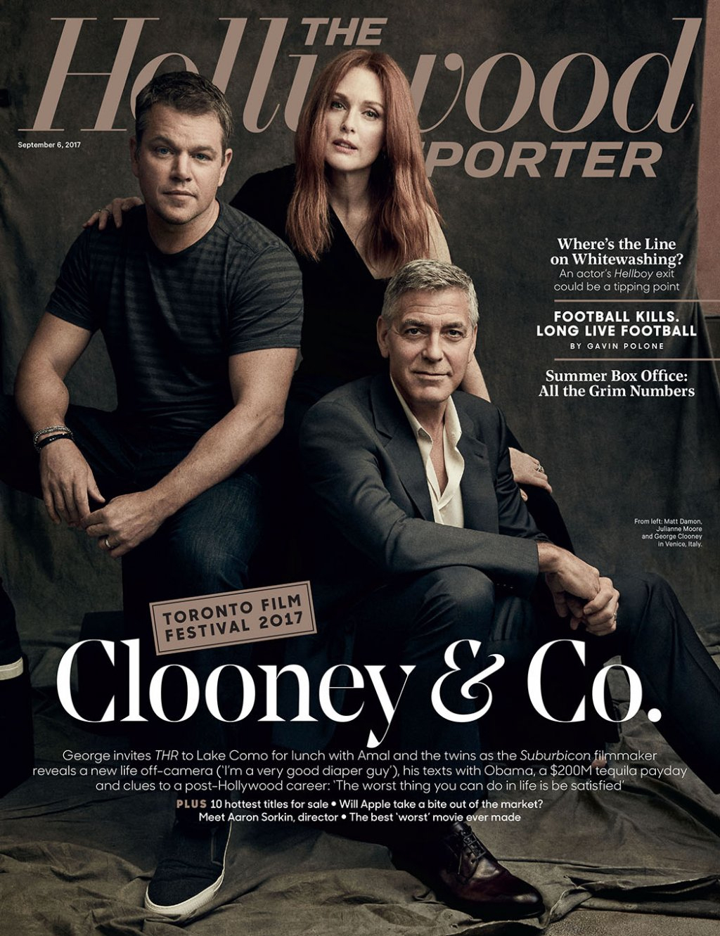 Matt Damon, Julianne Moore, and George Clooney on the cover of The Hollywood Reporter.