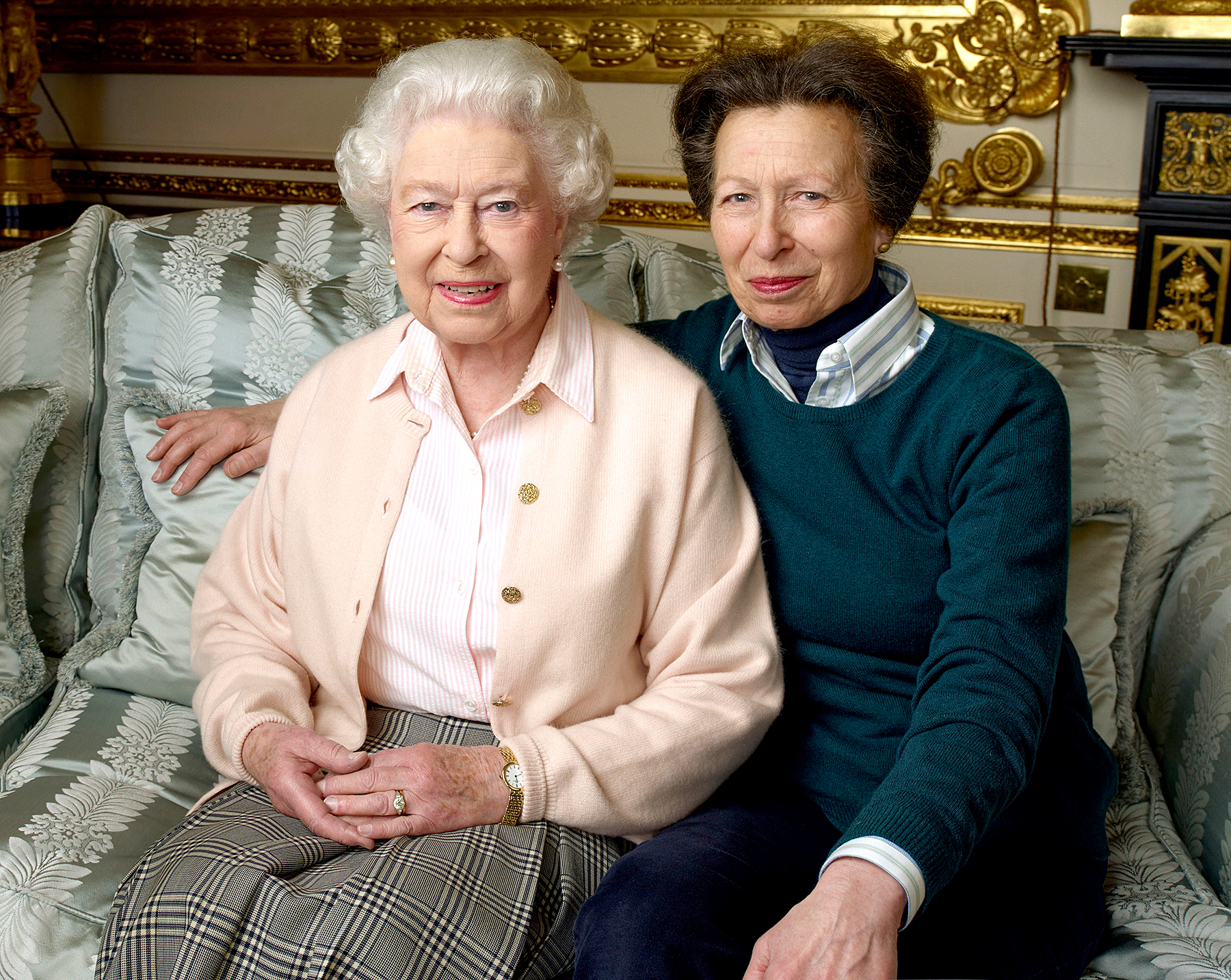 The Queen with her daughter The Princess Royal, taken in the White Drawing Room at Windsor Castle.