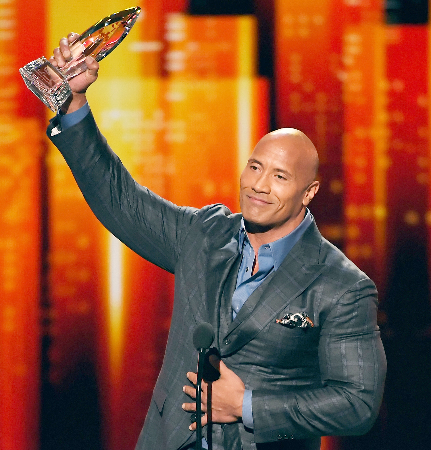 Dwayne Johnson accepts Favorite Premium Series Actor for 'Ballers' onstage during the People's Choice Awards 2017 at Microsoft Theater on January 18, 2017 in Los Angeles, California.