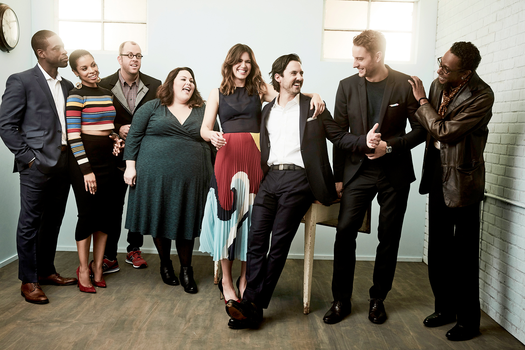 Sterling K. Brown, Susan Kelechi Watson, Chris Sullivan, Chrissy Metz, Mandy Moore, Milo Ventimiglia, Justin Hartley and Ron Cephas Jones of 'This Is Us' pose for a portrait in the NBCUniversal Press Tour portrait studio at The Langham Huntington, Pasadena on January 18, 2017 in Pasadena, California.