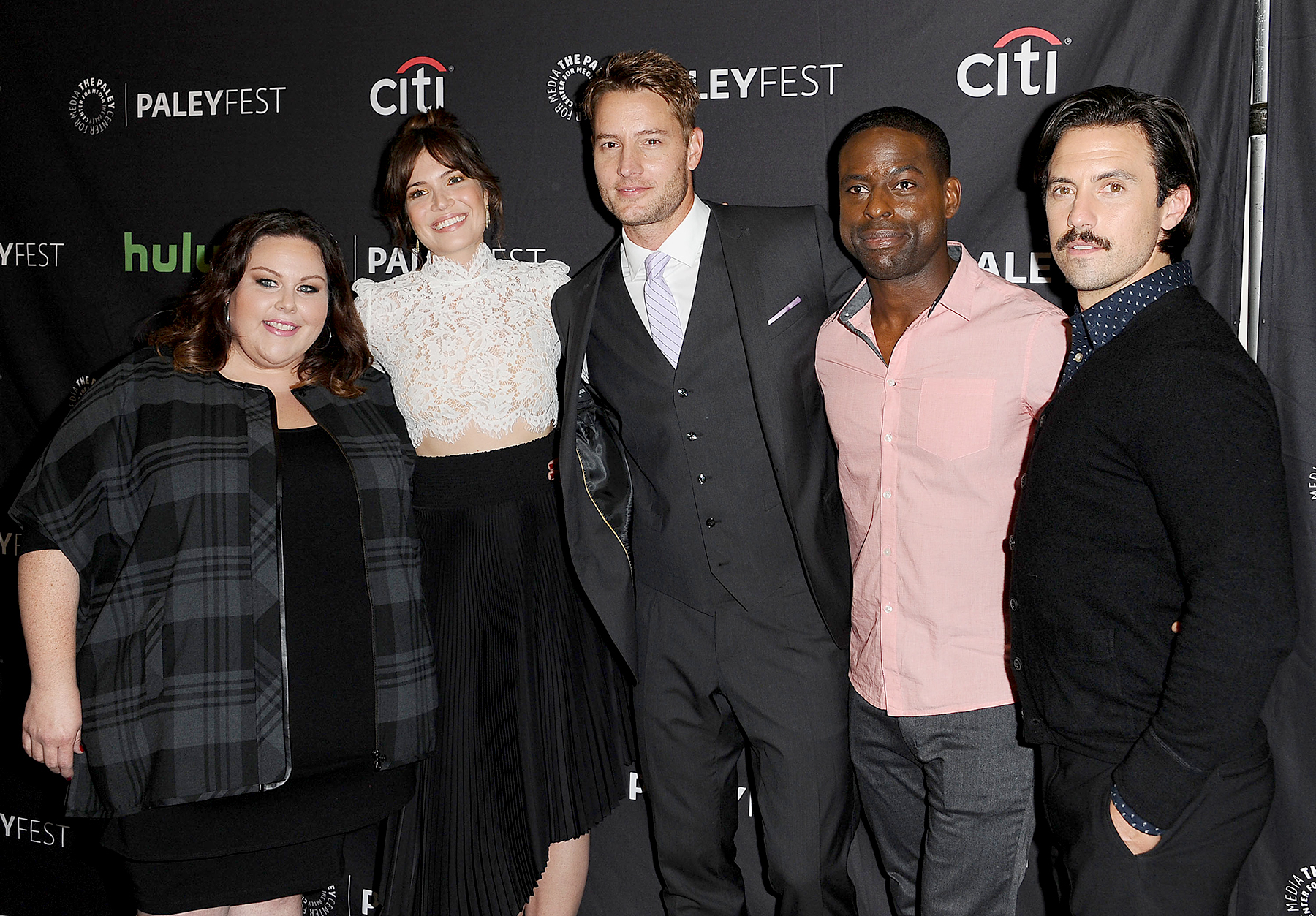 Chrissy Metz, Mandy Moore, Justin Hartley, Sterling K. Brown and Milo Ventimiglia attend the NBC event at the PaleyFest 2016 fall TV preview at The Paley Center for Media on September 13, 2016 in Beverly Hills, California.