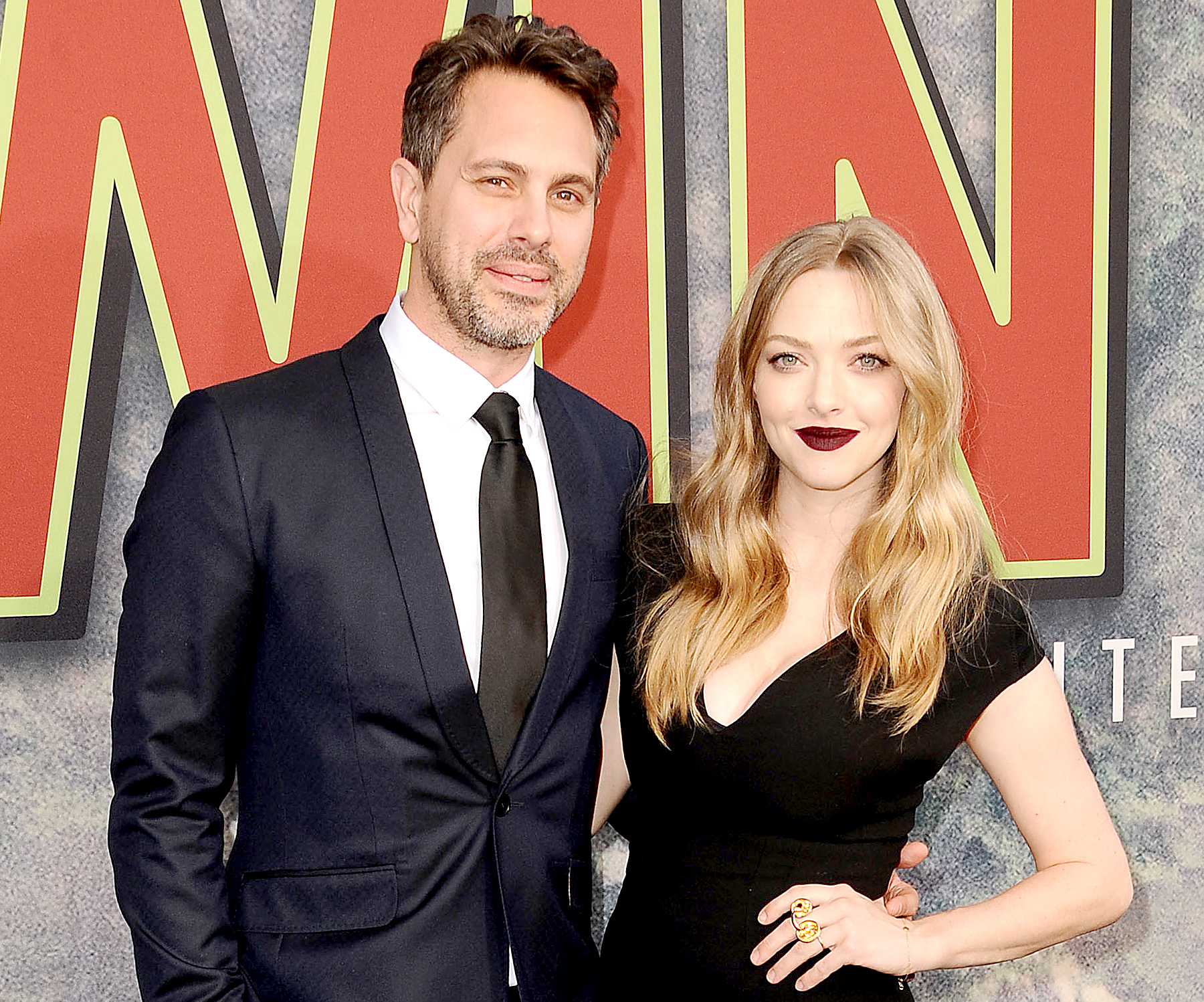 "Thomas Sadoski and Amanda Seyfried attend the premiere of ""Twin Peaks"" at Ace Hotel on May 19, 2017 in Los Angeles, California."
