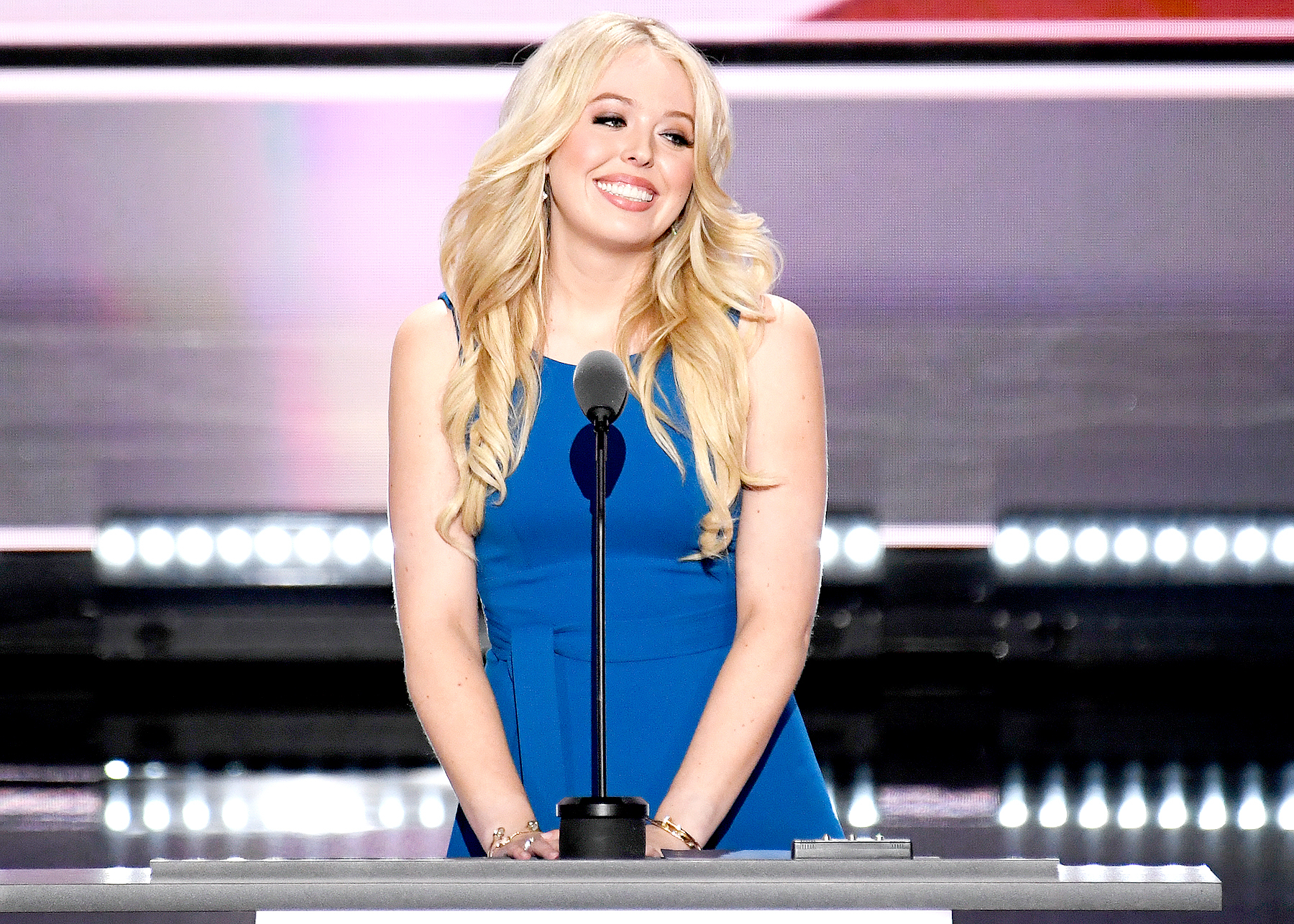 Tiffany Trump, daughter of Donald Trump, speaks at the 2016 Republican National Convention in Cleveland, Ohio on Monday, July 19, 2016.