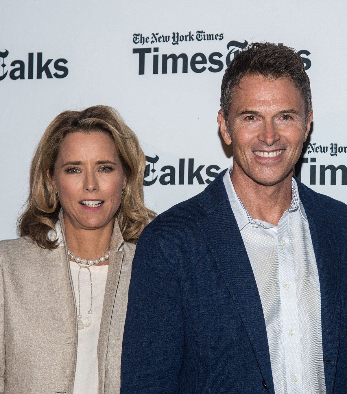 Tea Leoni and Tim Daly attend the Times Talks Presents: An Evening With The Cast Of 'Madame Secretary' at Haft Auditorium at FIT on September 29, 2015 in New York City