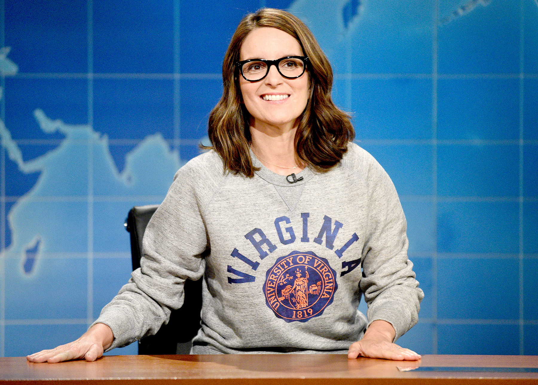 Tina Fey at the 'Weekend Update' desk on August 17, 2017.