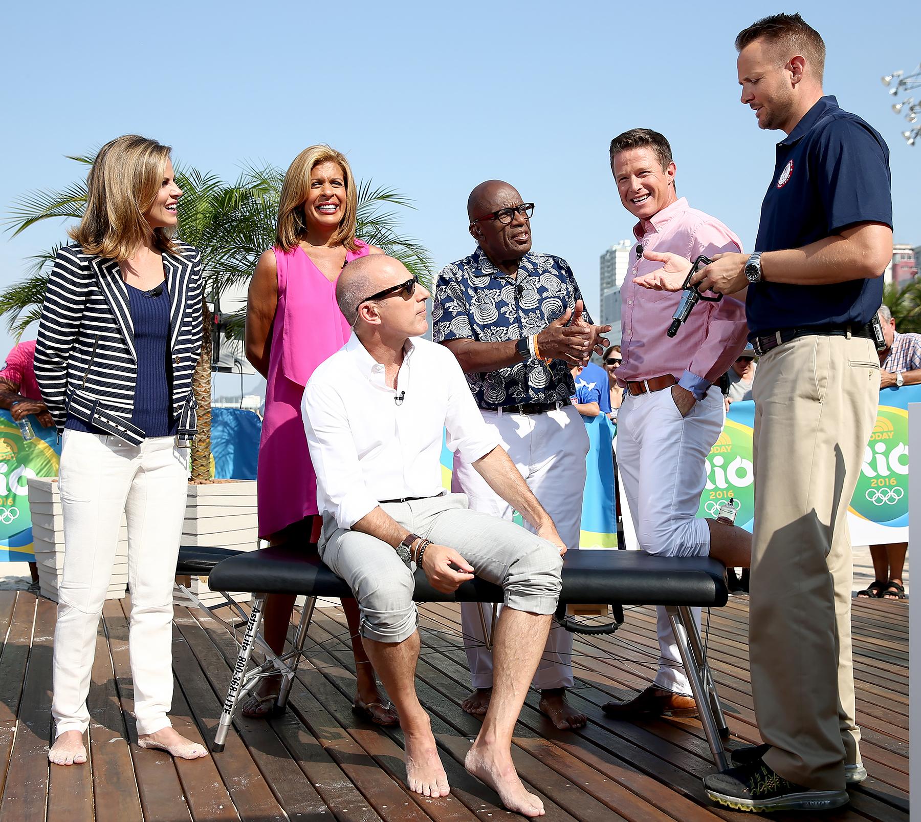 Natalie Morales, Hoda Kotb, Matt Lauer, Al Roker and Billy Bush with US team doctor Kevin Pierce appear on NBC's