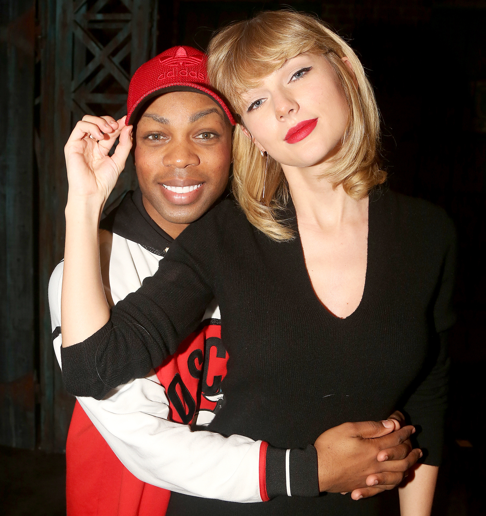 Todrick Hall and Taylor Swift pose backstage at 'Kinky Boots' on Broadway at The Al Hirschfeld Theater in New York City on November 23, 2016.