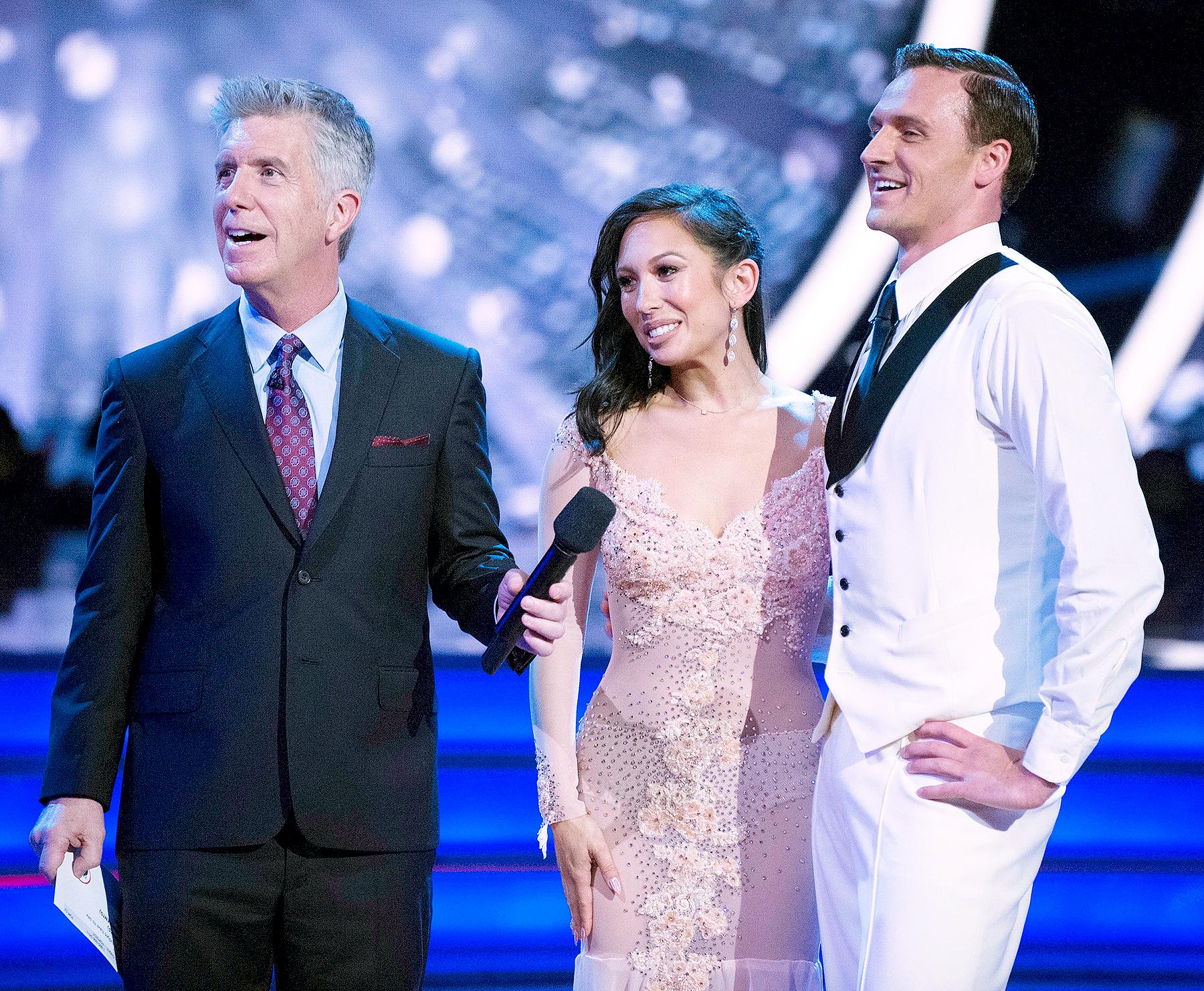 Tom Bergeron, Cheryl Burke, and Ryan Lochte