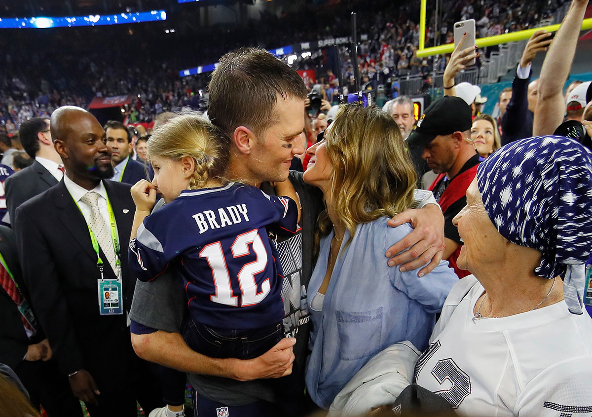Tom Brady with his daughter, Vivian, wife Gisele Bundchen and mother, Galynn after his team won the Super Bowl