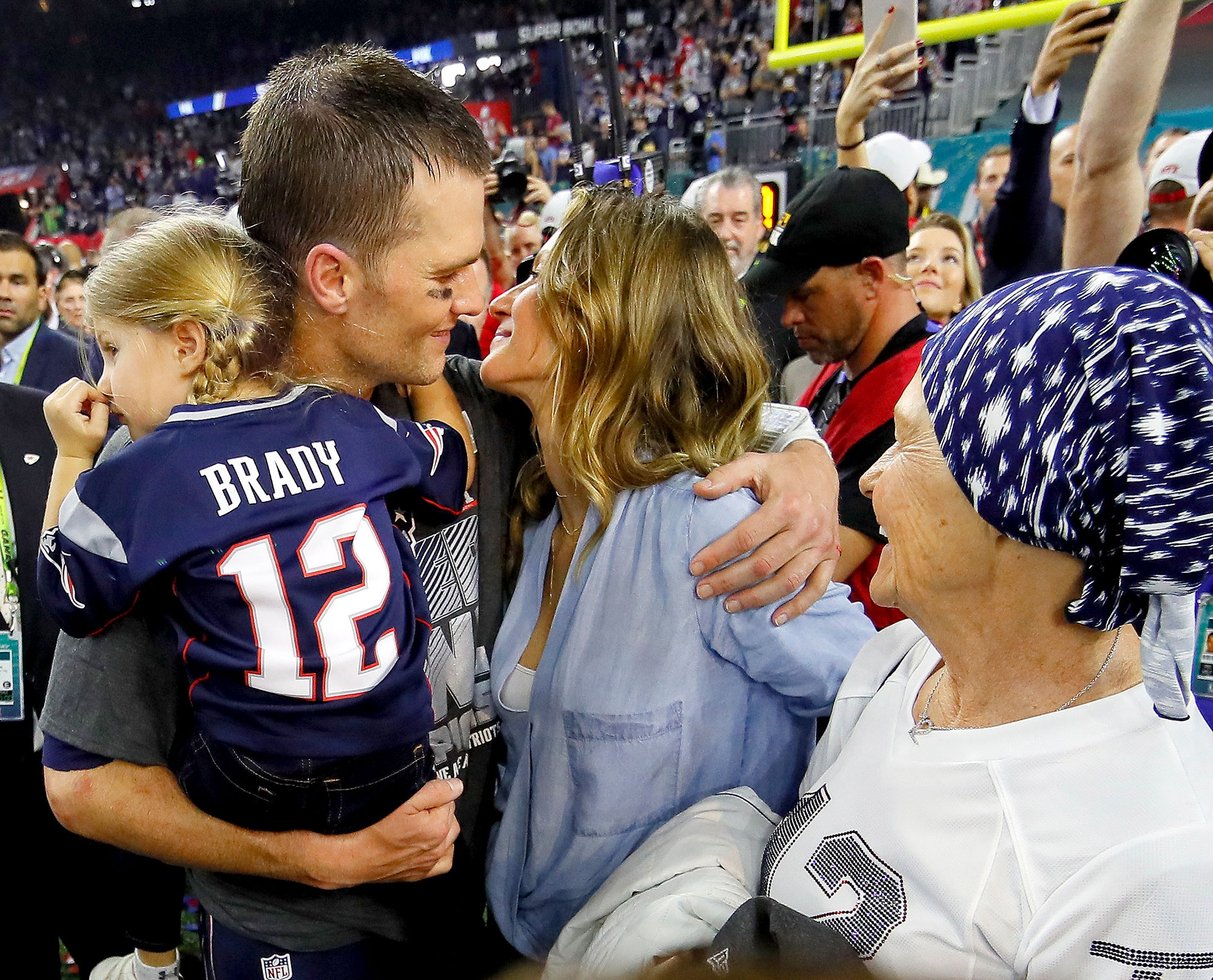 Tom Brady #12 of the New England Patriots celebrates with wife Gisele Bundchen and daughter Vivian Brady after defeating the Atlanta Falcons during Super Bowl 51 at NRG Stadium on February 5, 2017 in Houston, Texas.