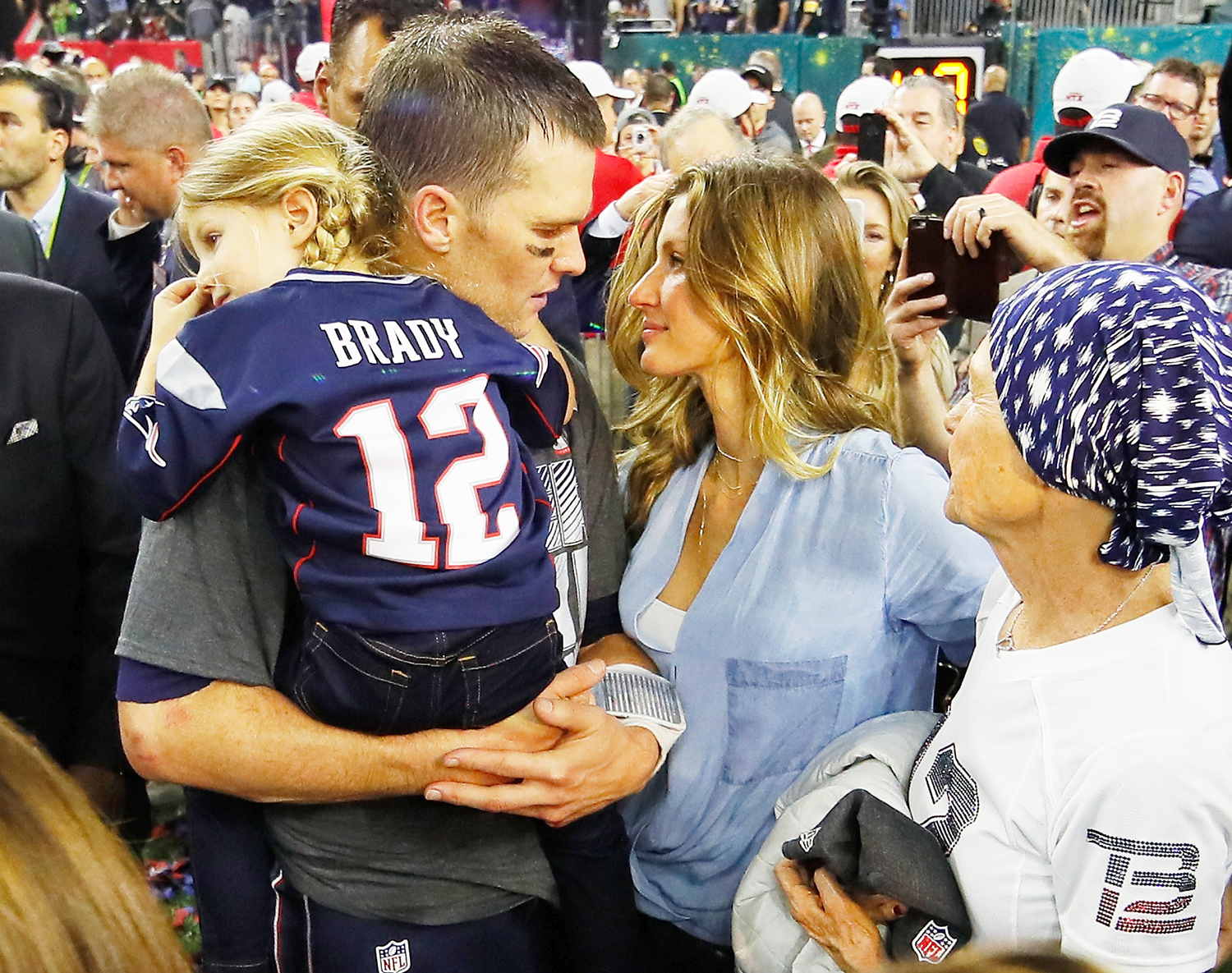 Tom Brady of the New England Patriots celebrates with wife Gisele Bundchen and daughter Vivian Brady after defeating the Atlanta Falcons during Super Bowl 51 at NRG Stadium on February 5, 2017 in Houston, Texas.