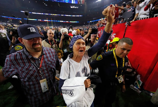 Galynn cheering on her son, Tom Brady, after his team won the 2017 Super Bowl