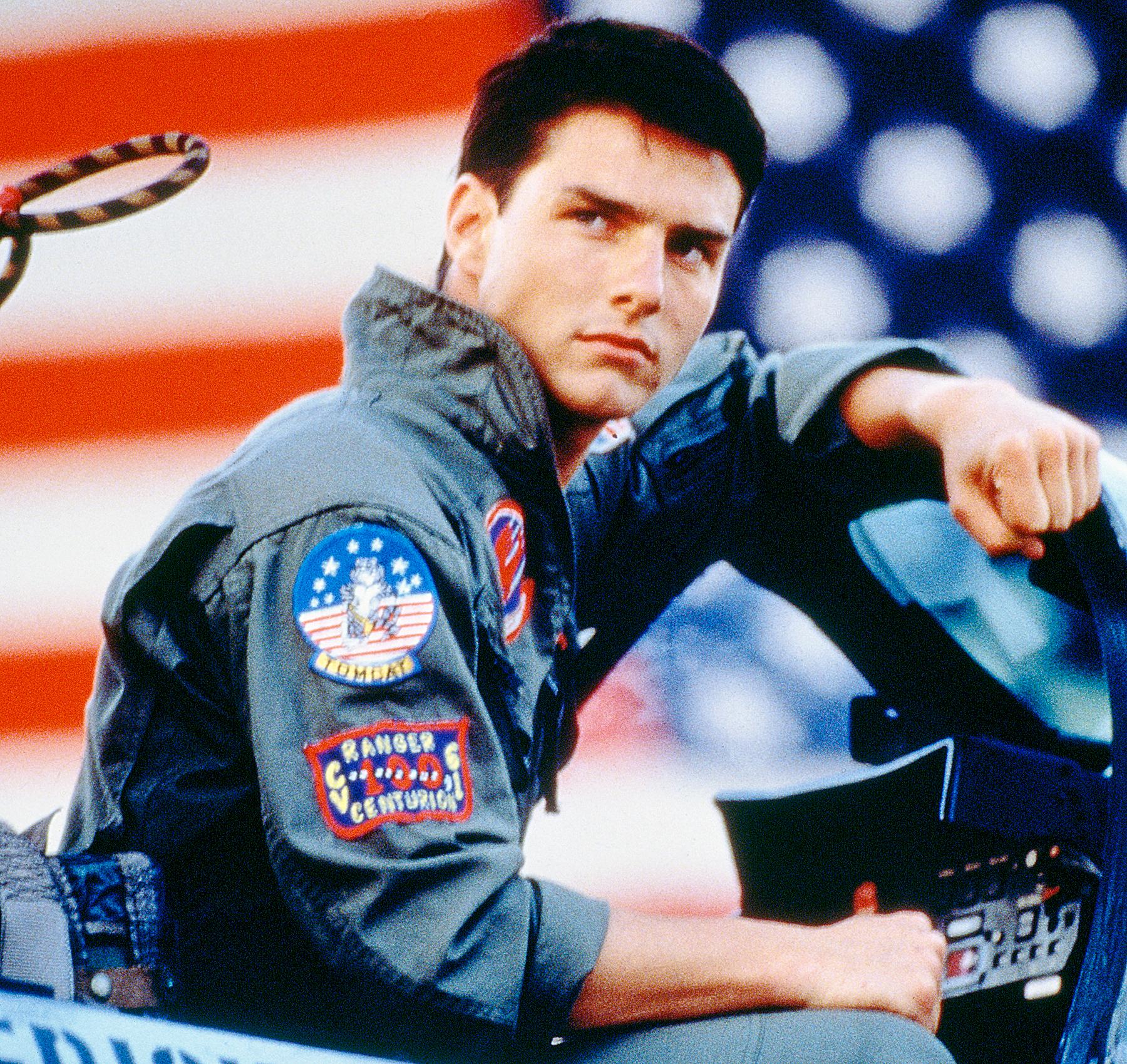 Tom Cruise, as Lieutenant Pete 'Maverick' Mitchell, in 'Top Gun', 1986.