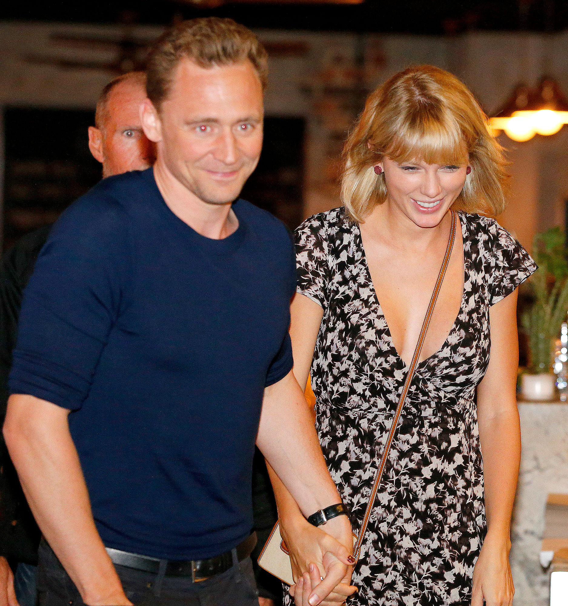 ctor Tom Hiddleston and singer Taylor Swift leave restaurant 'Gemelli Italian' in Broadbeach on the Gold Coast, Queensland.