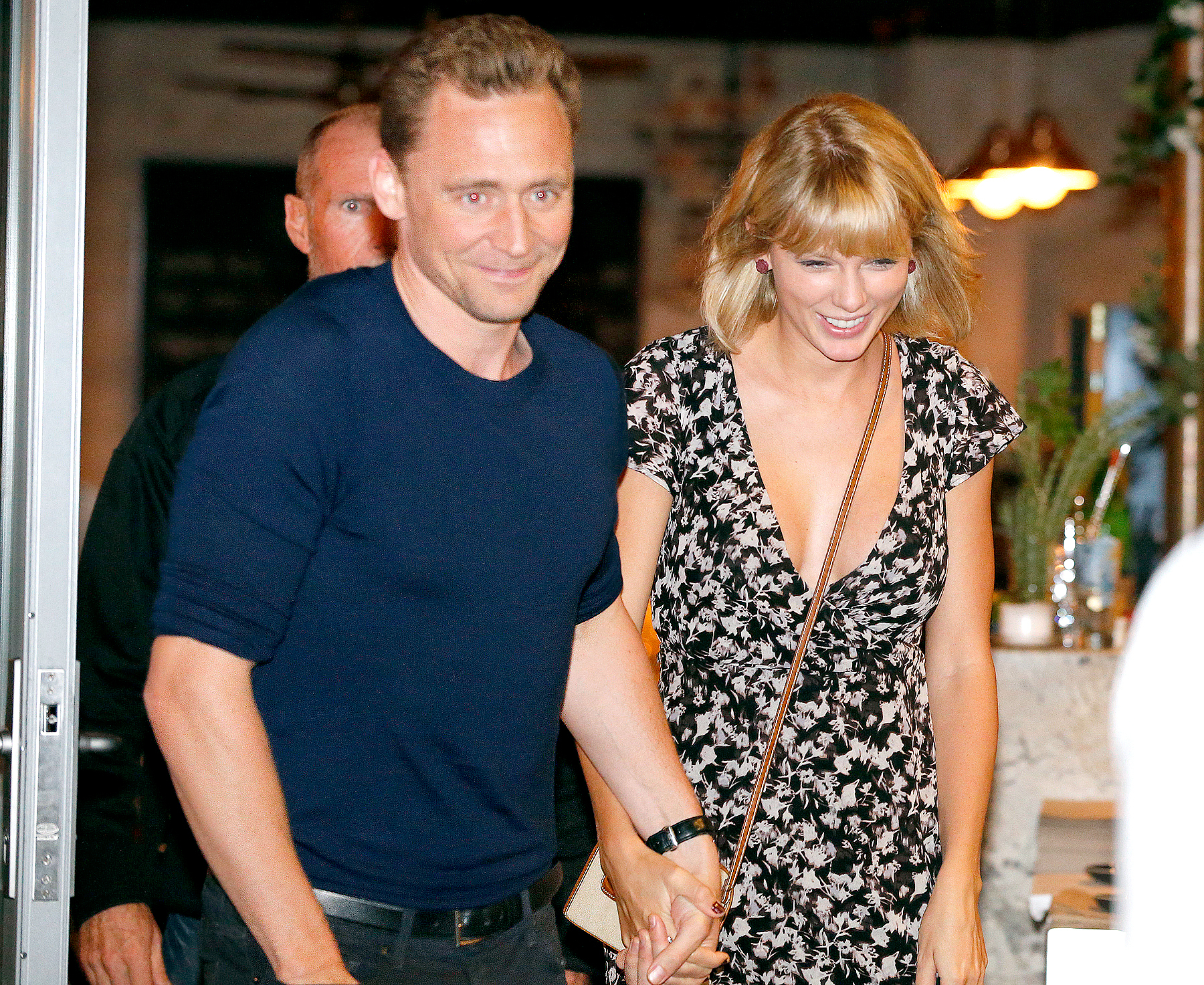 Tom Hiddleston and Taylor Swift leave restaurant 'Gemelli Italian' in Broadbeach on the Gold Coast, Queensland.