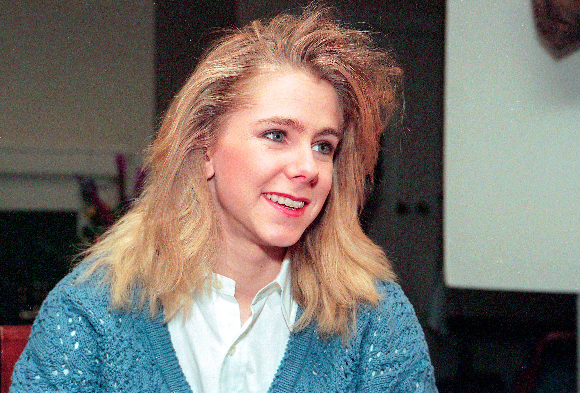 Tonya Harding sits for an interview in Portland. OR. for the program