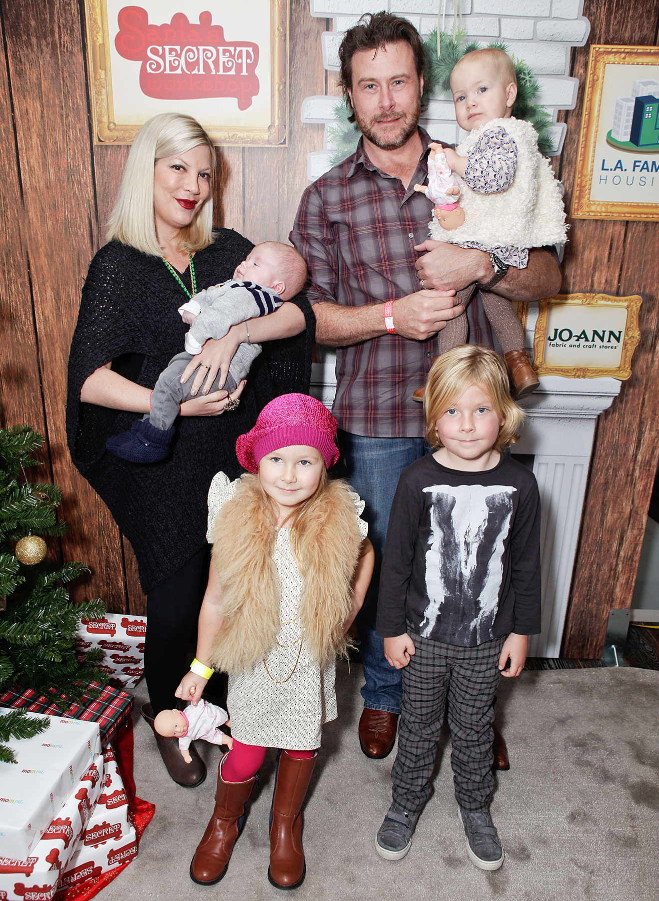 Tori Spelling Dean McDermott Liam Stella Hattie Finn - Actress Tori Spelling with son Finn, husband Dean McDermott, daughter Hattie, daughter Stella and son Liam attended the 2nd Annual Santa's Secret Workshop Benefiting L.A. Family Housing at Andaz on December 1, 2012 in West Hollywood, California.