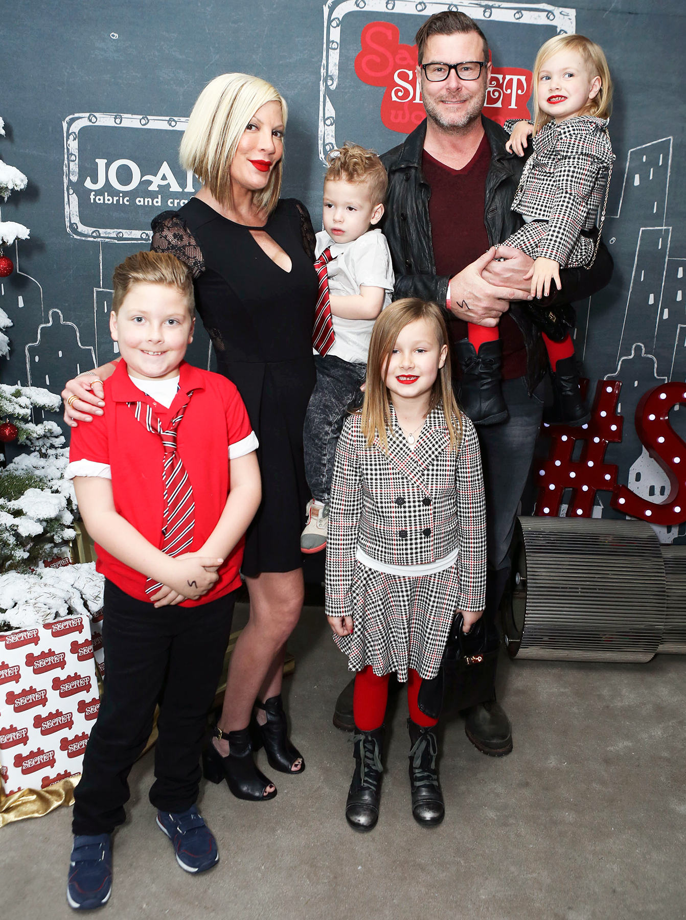 Tori Spelling Dean McDermott Liam Stella Hattie Finn - The family once again attended the 4th Annual Santa's Secret Workshop Benefiting LA Family Housing at Andaz Hotel on December 6, 2014, in Los Angeles.