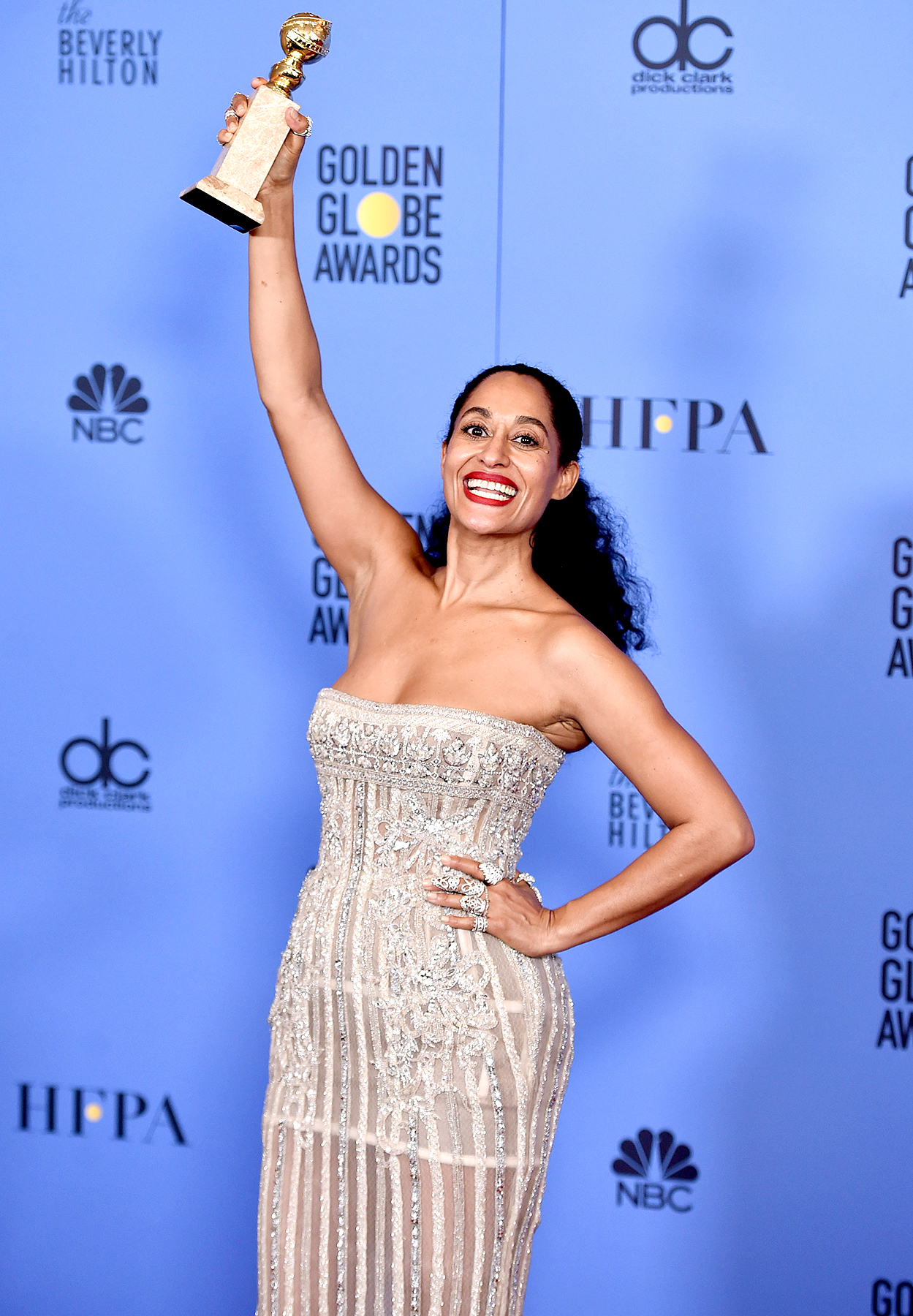 Tracee Ellis Ross, winner of Best Performance in a Television Series - Musical or Comedy for 'Black-ish,' poses in the press room during the 74th Annual Golden Globe Awards at The Beverly Hilton Hotel on January 8, 2017 in Beverly Hills, California.