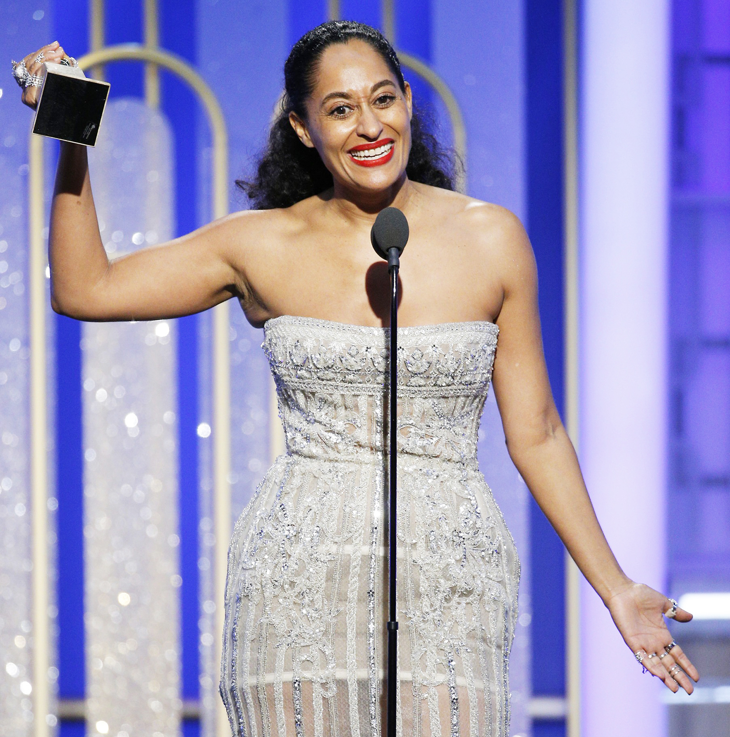 Tracee Ellis Ross accepts the award for Best Actress in a Television Series — Musical or Comedy for her role in 'Black-ish' during the 74th Annual Golden Globe Awards at the Beverly Hilton Hotel on Jan. 8, 2017, in Beverly Hills.
