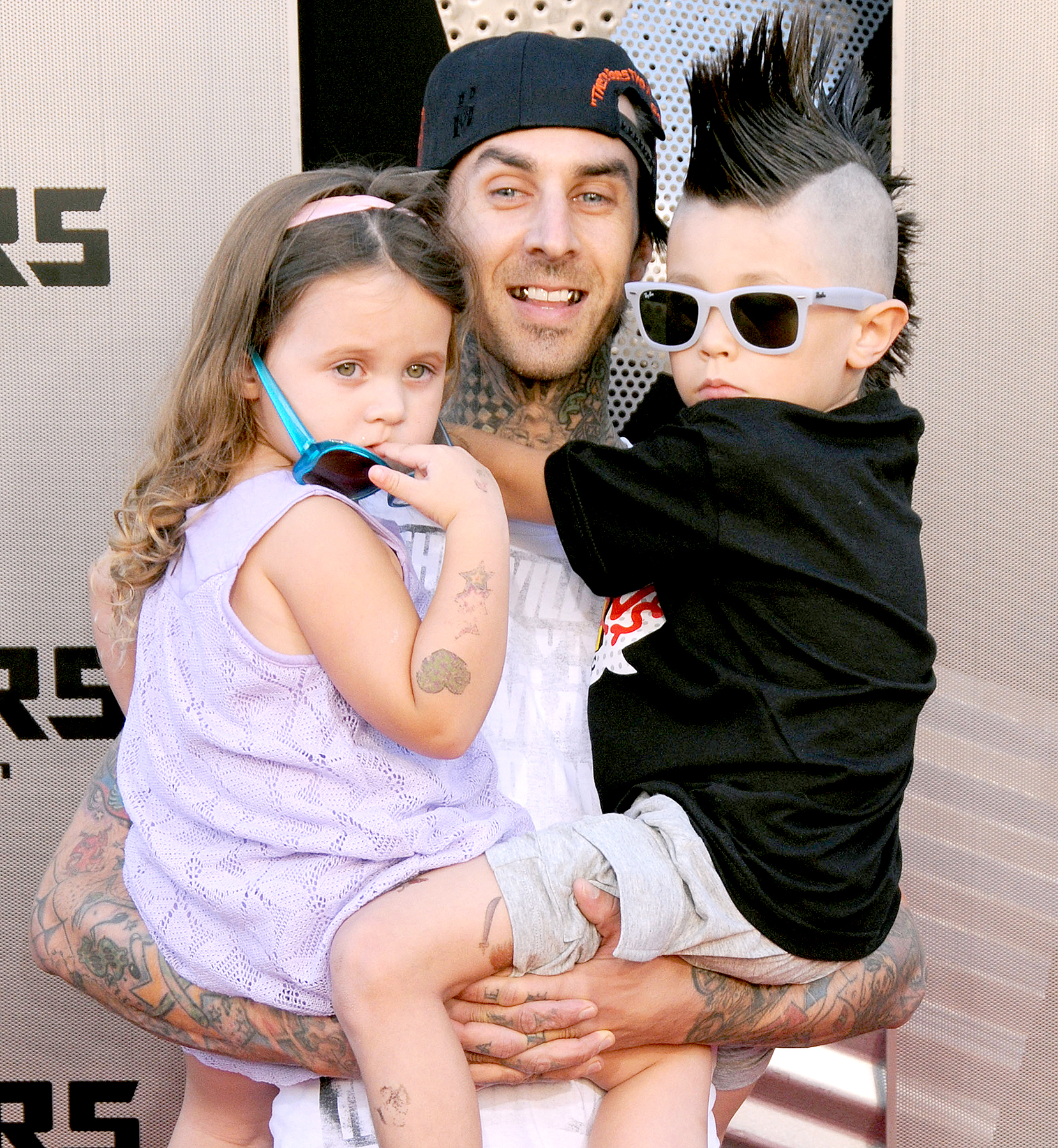 Travis Barker, daughter Alabama and son Landon arrive for the Los Angeles Premiere of