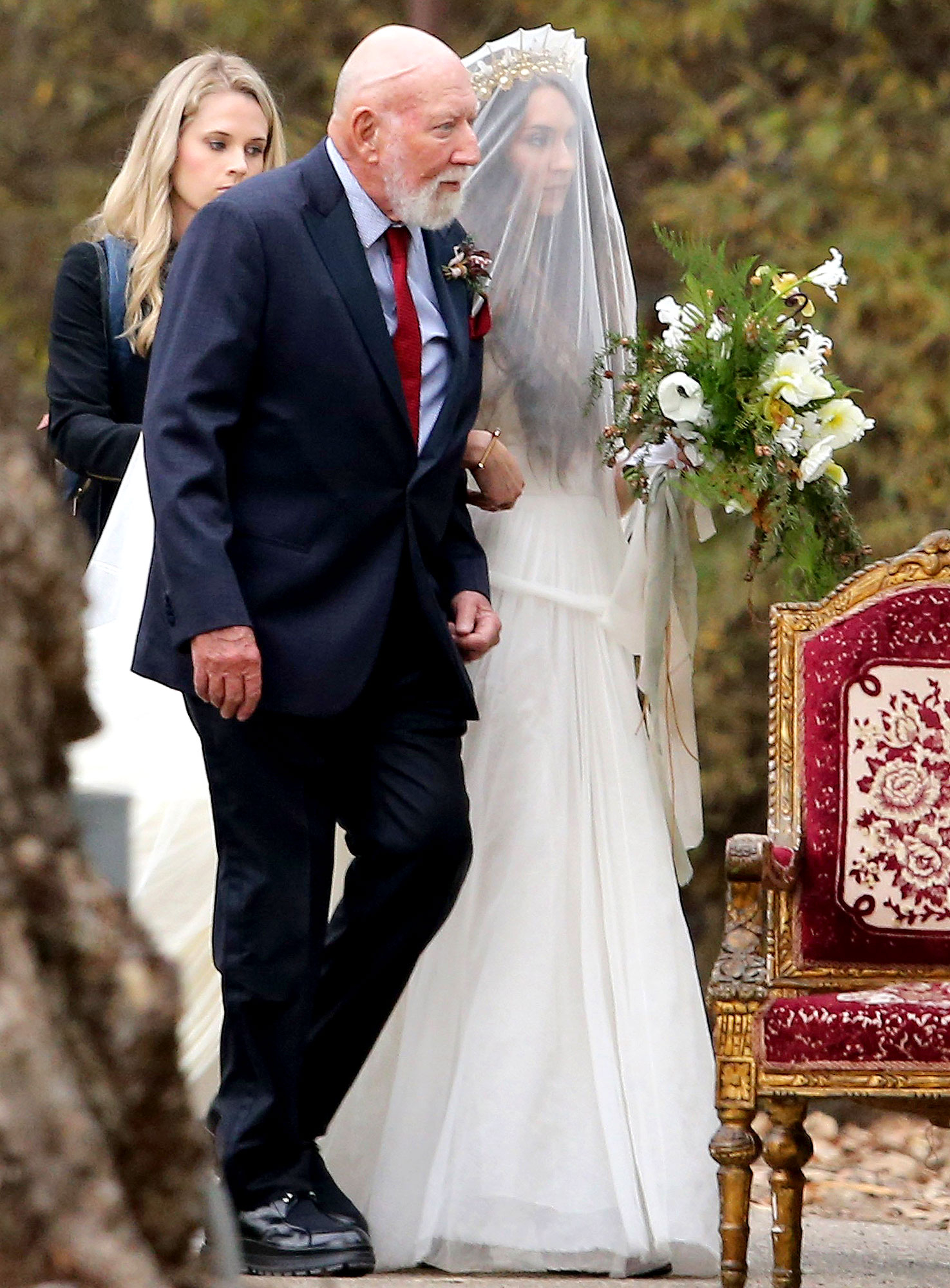 Troian bellisarios boho wedding dress all the details troian bellisario with dad donald bellisario chose the perfect boho wedding dress for her rustic wedding to patrick adams on saturday december 10 izmirmasajfo