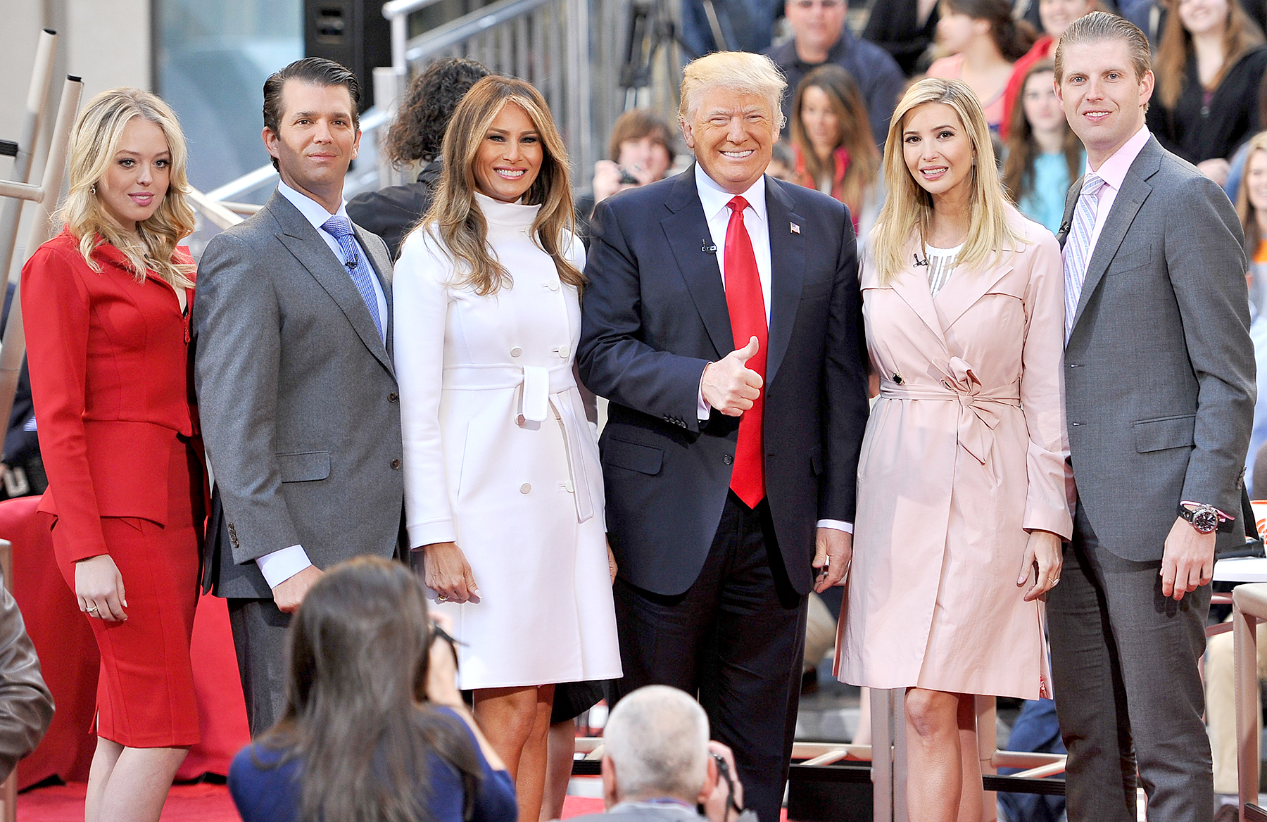 Tiffany Trump, Eric Trump, Melania Trump, Donald Trump, Ivanka Trump, and Donald Trump, Jr. attend NBC's Today Trump Town Hall at Rockefeller Plaza on April 21, 2016 in New York City.