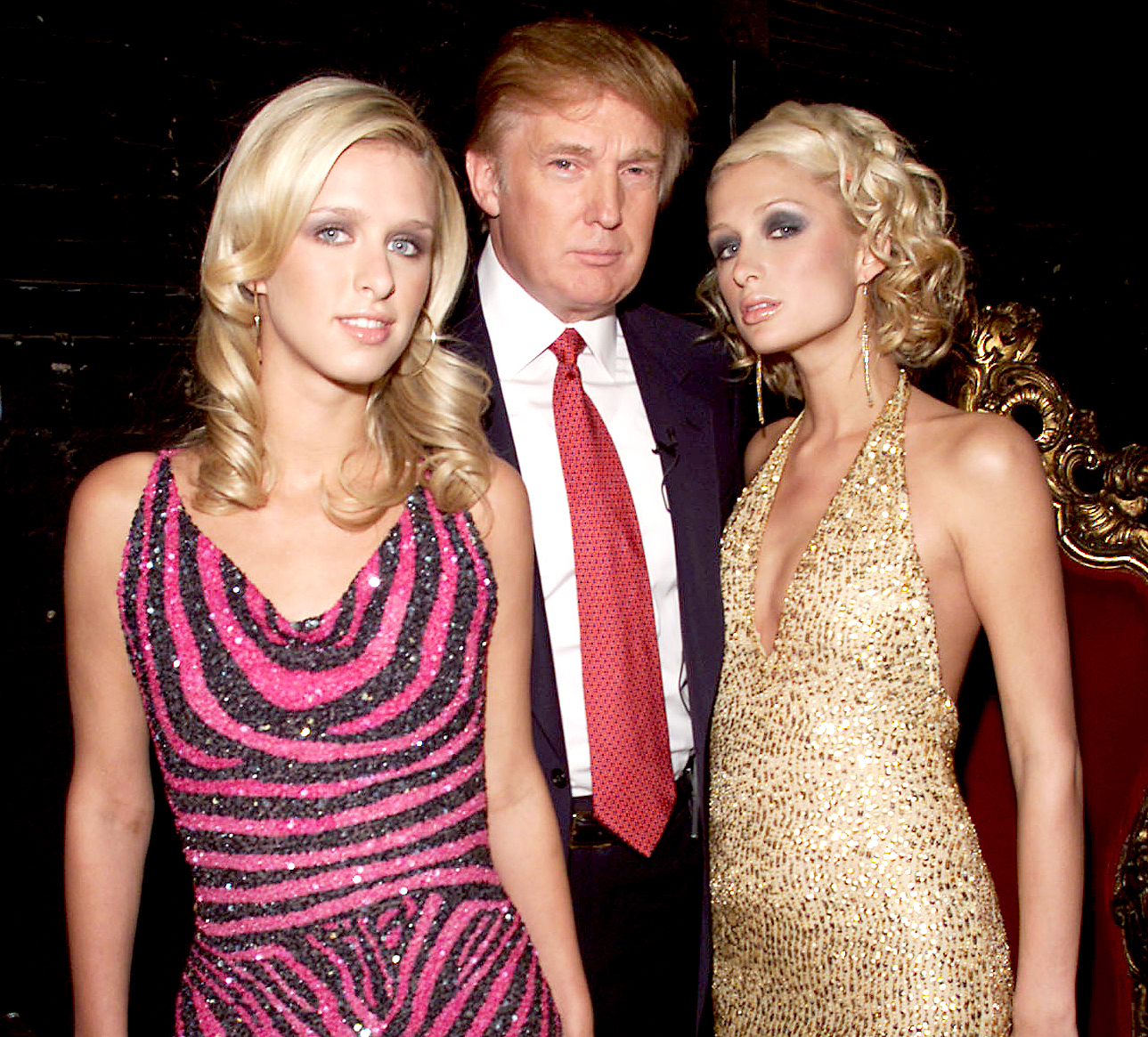 Donald Trump with Paris and Nikke Hilton during rehearsals for the 2001 VH1 Vogue Fashion Awards at Hammerstein Ballroom in New York City, 10/18/01.