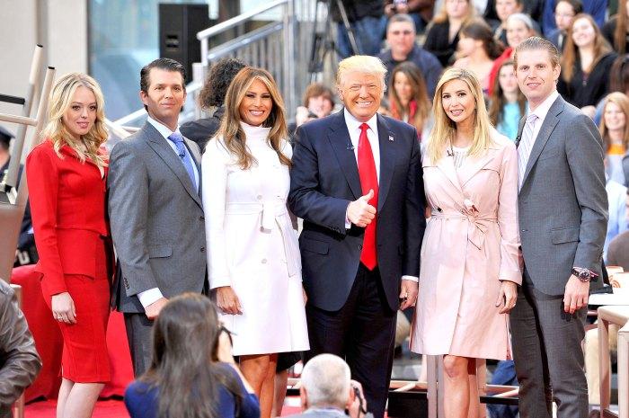 Tiffany Trump, Eric Trump, Melania Trump, Donald Trump, Ivanka Trump, and Donald Trump, Jr. attend NBC's Today Trump Town Hall at Rockefeller Plaza on April 21, 2016.