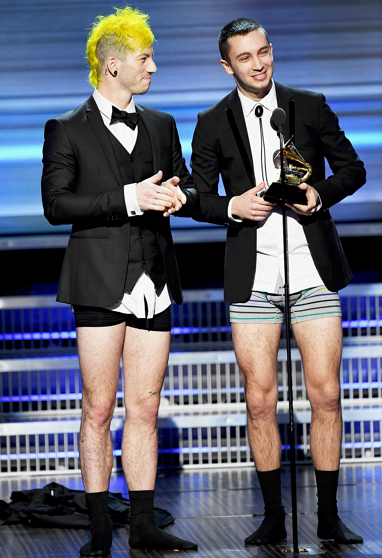 Josh Dun (L) and Tyler Joseph of music group Twenty One Pilots accept the Best Pop Duo/Group Performance award for 'Stressed Out' onstage during The 59th GRAMMY Awards at STAPLES Center on February 12, 2017 in Los Angeles, California.