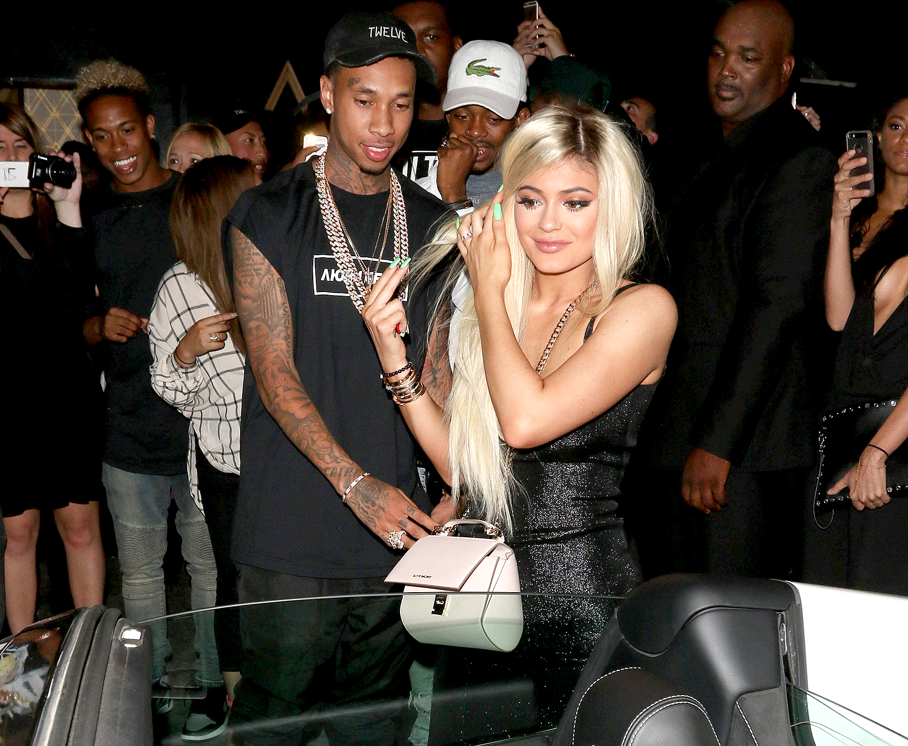 Tyga and Kylie Jenner are seen on Aug. 9, 2015, in Los Angeles.
