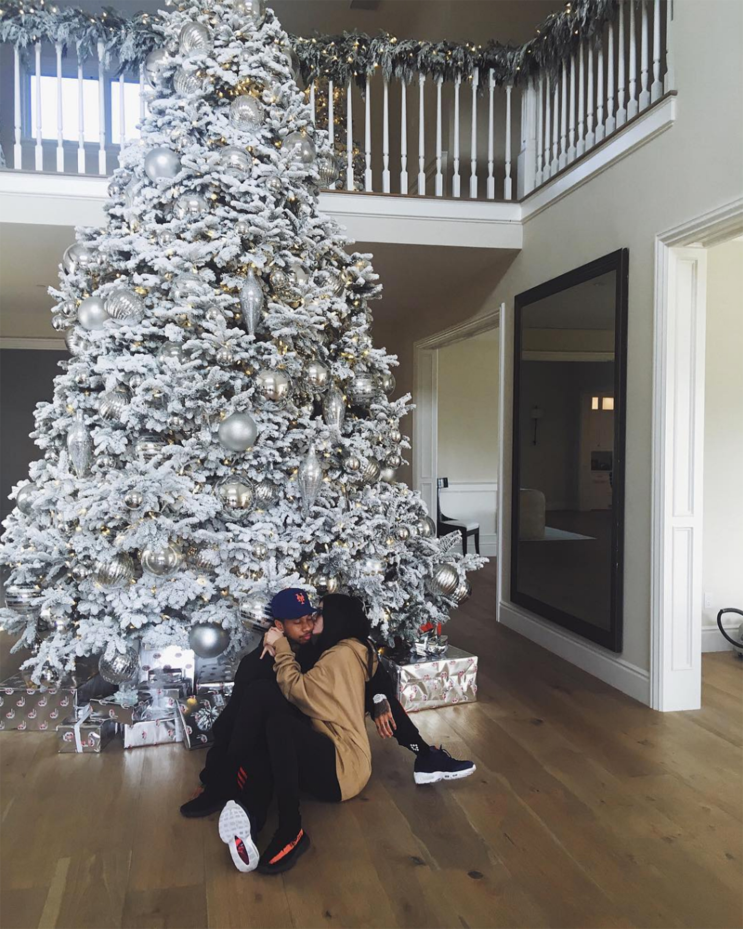 Kylie Jenner Kisses Tyga in Front of Christmas Tree in Sweet Pic