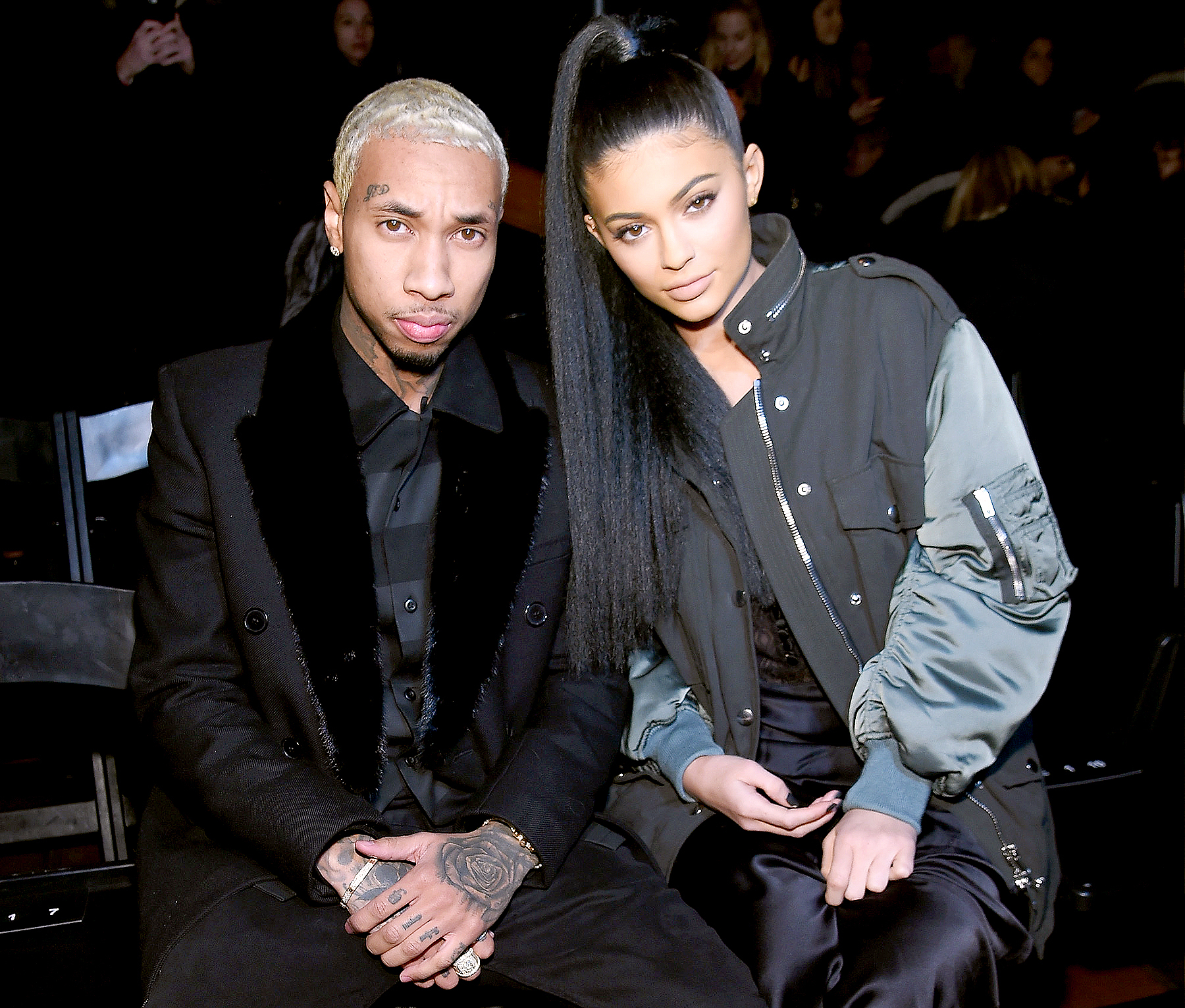 Tyga and Kylie Jenner attend the Alexander Wang Fall 2016 fashion show during New York Fashion Week at St. Bartholomew's Church on February 13, 2016 in New York City.