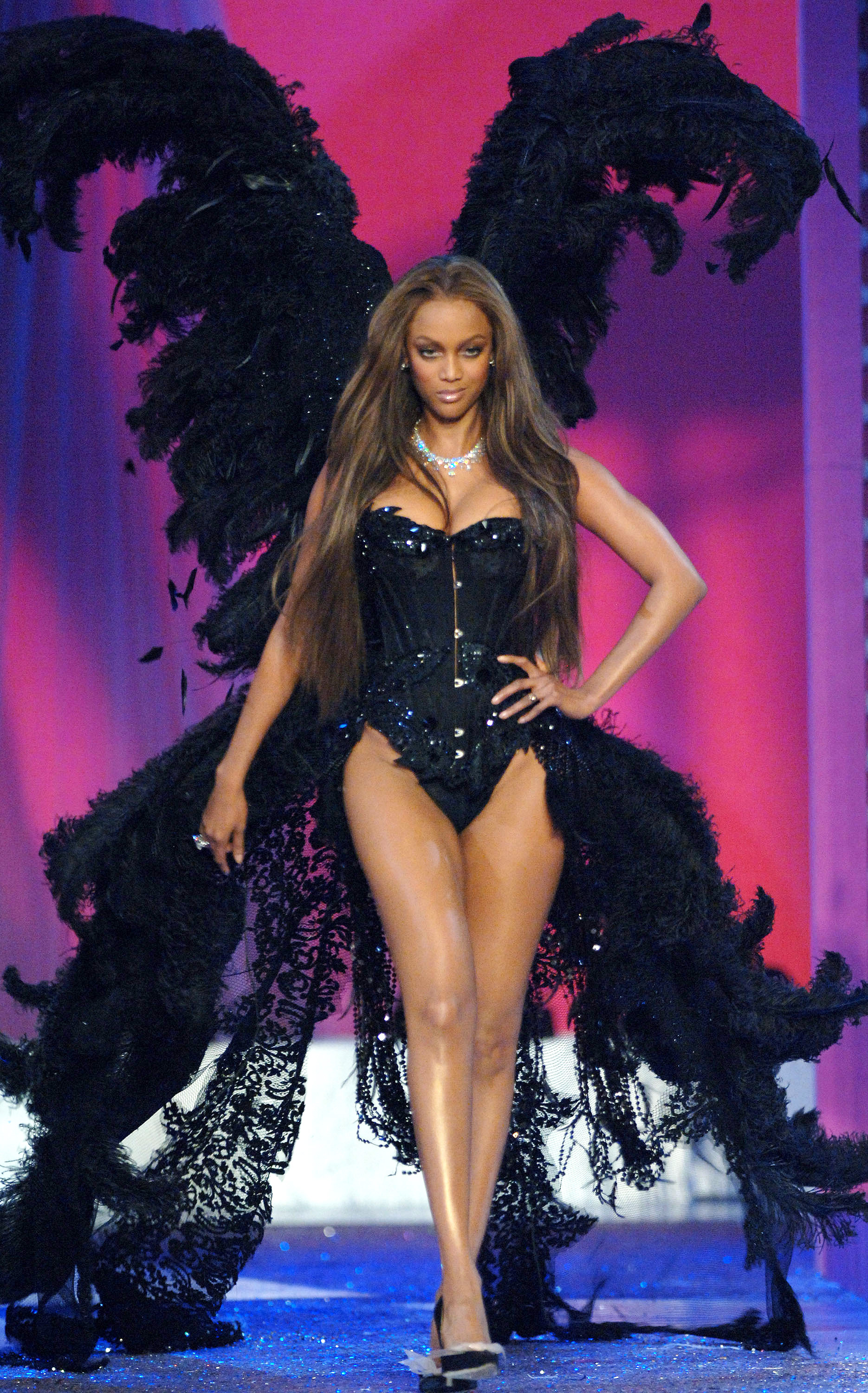 5d0e62a2ba Tyra Banks at the 2005 Victoria s Secret fashion show Kevin Mazur WireImage