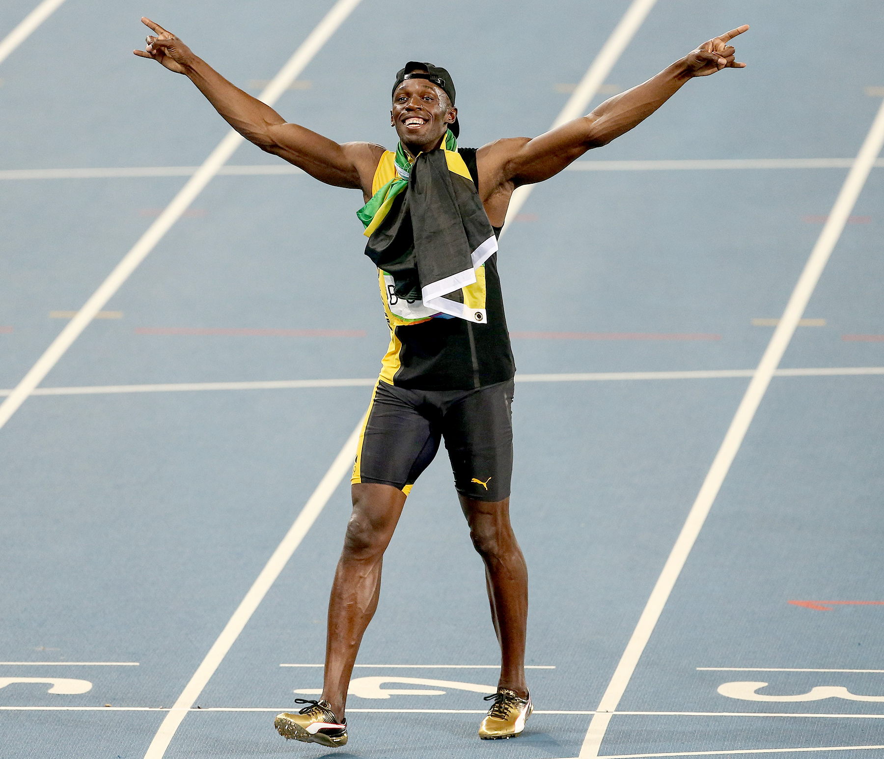 Usain Bolt of Jamaica celebrates victory after the Men's 4 x 100m Relay Final of the Rio 2016 Olympic Games at the Olympic Stadium in Rio de Janeiro, Brazil on August 19, 2016.