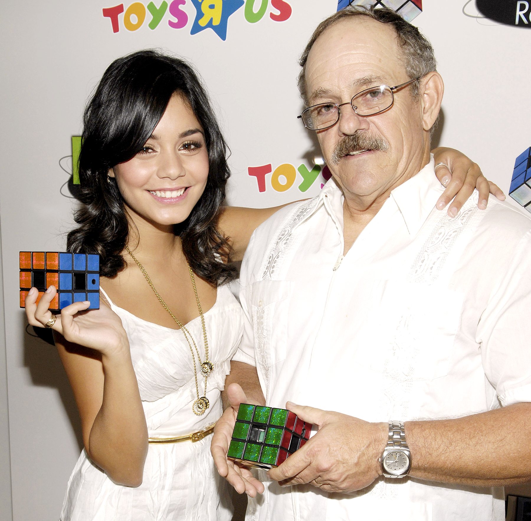 Vanessa Hudgens and Greg Hudgens celebrate Father's Day with the launch of Techno Source's Rubik's Revolution at Toys ''R'' Us Times Square in 2007.