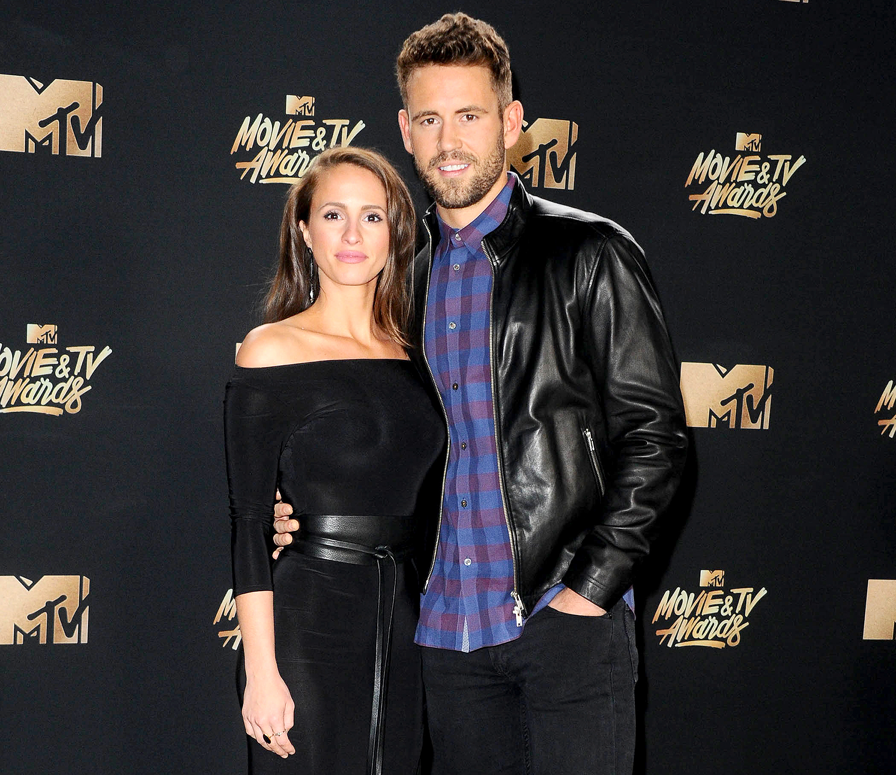 Vanessa Grimaldi and Nick Viall attend the 2017 MTV Movie & TV Awards at the Shrine Auditorium on May 7, 2017.