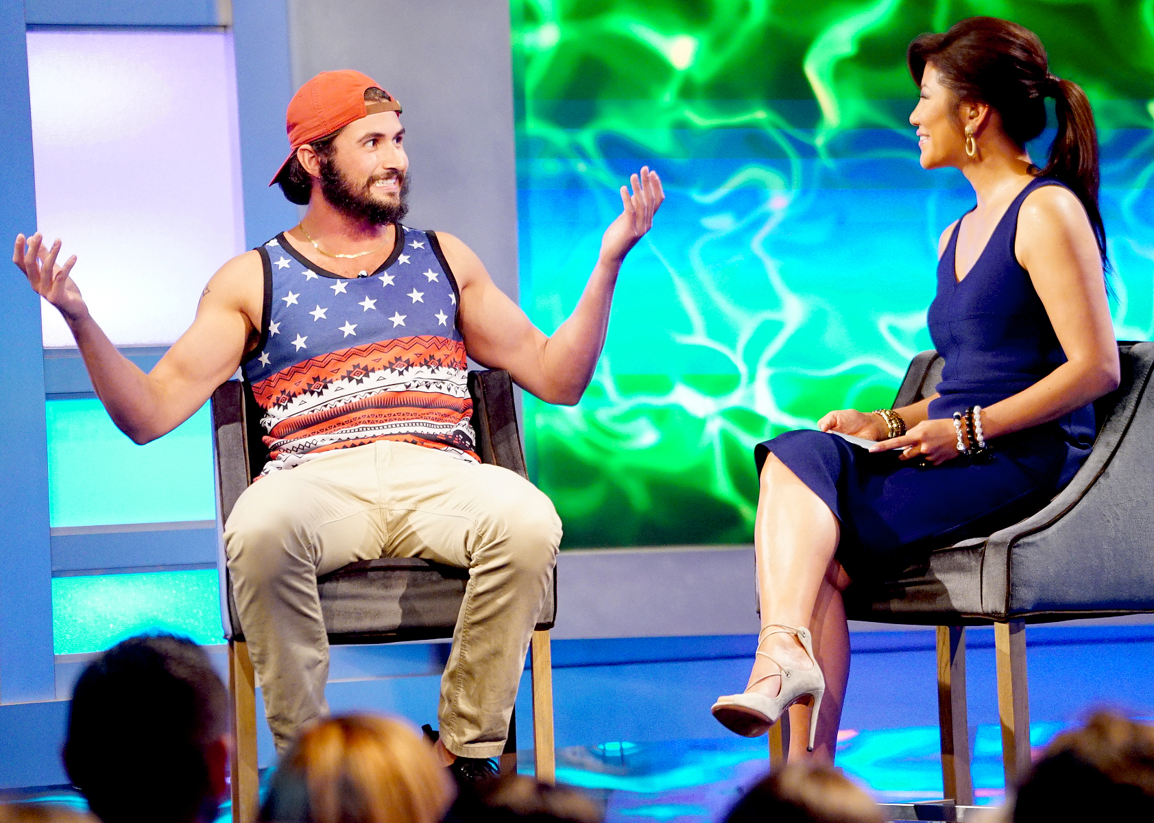 Victor Arroyo and Julie Chen on Big Brother.