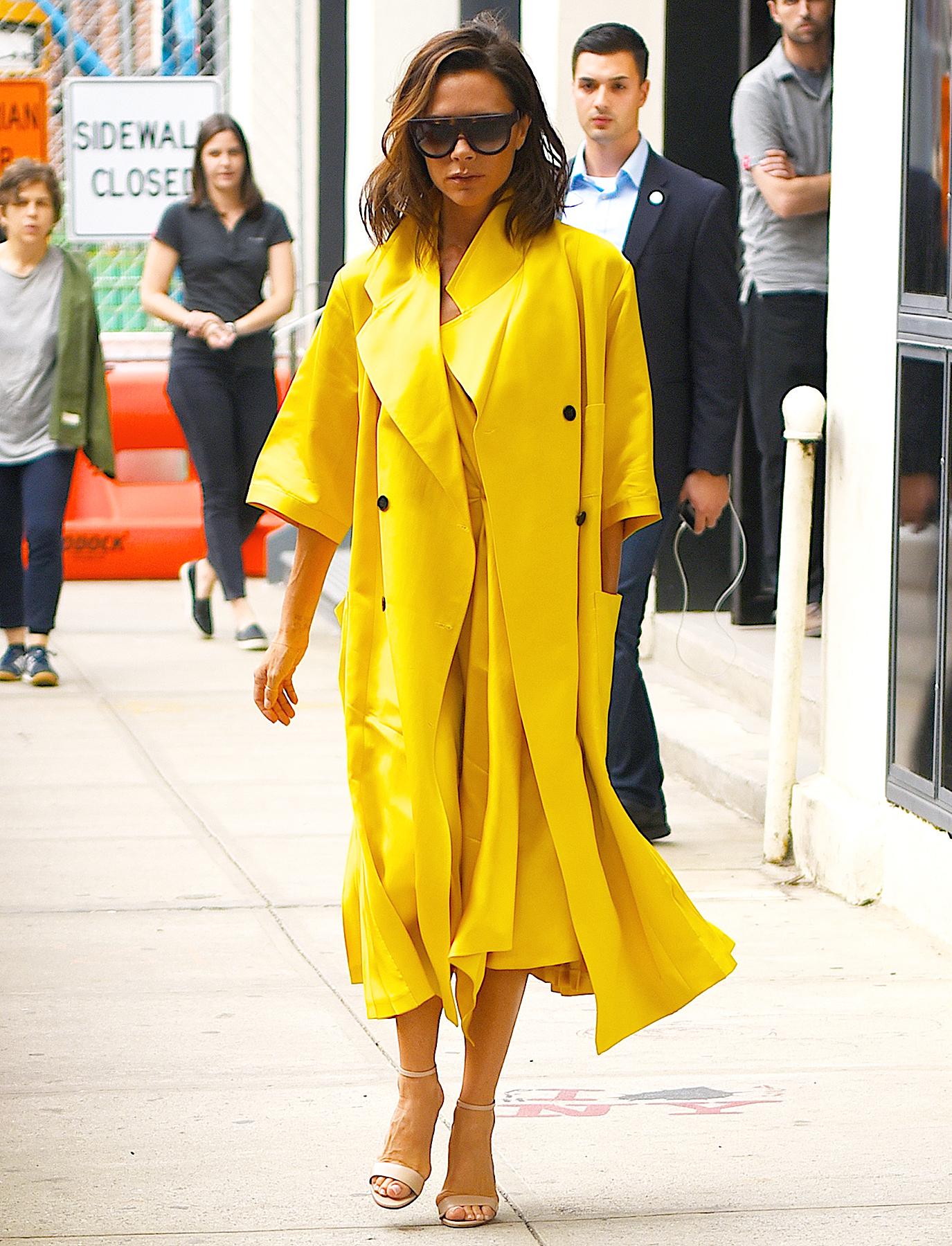 Victoria Beckham yellow coat