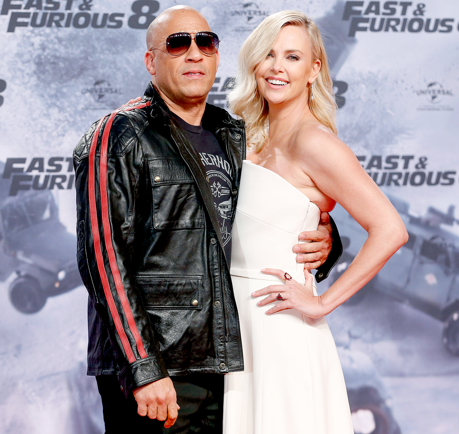 Vin Diesel and Charlize Theron attend the Fast & Furious 8 Berlin Premiere at Sony Centre on April 4, 2017 in Berlin, Germany.