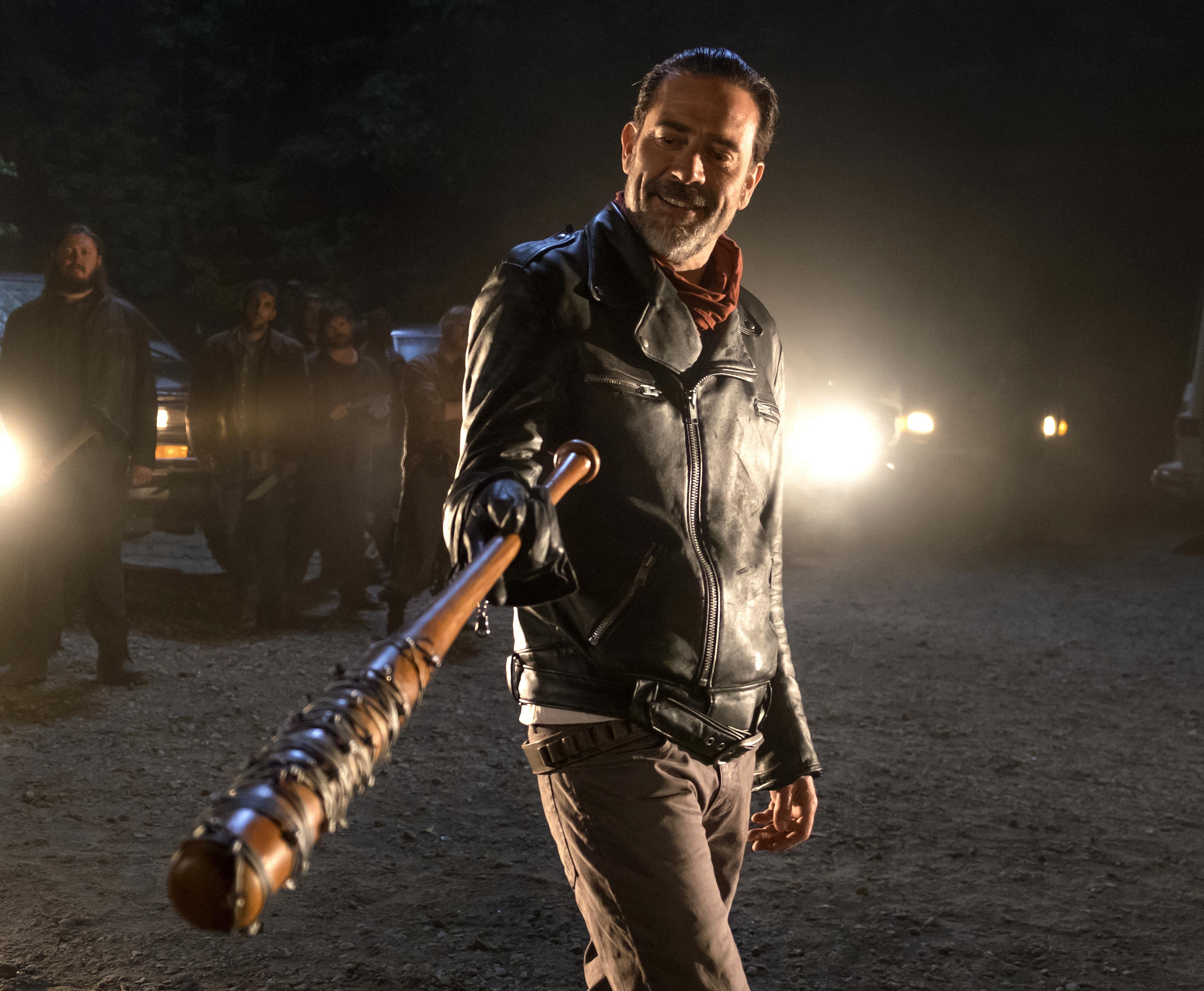 Jeffrey Dean Morgan as Negan in The Walking Dead, Season 7, Episode 1.