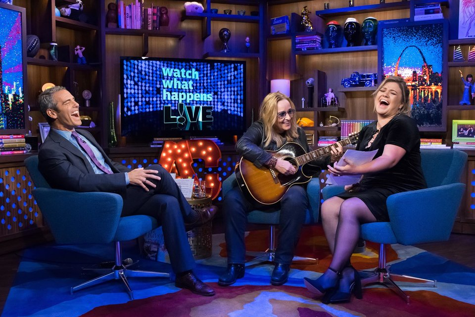 Andy Cohen, Melissa Etheridge and Kelly Clarkson on Watch What Happens Live