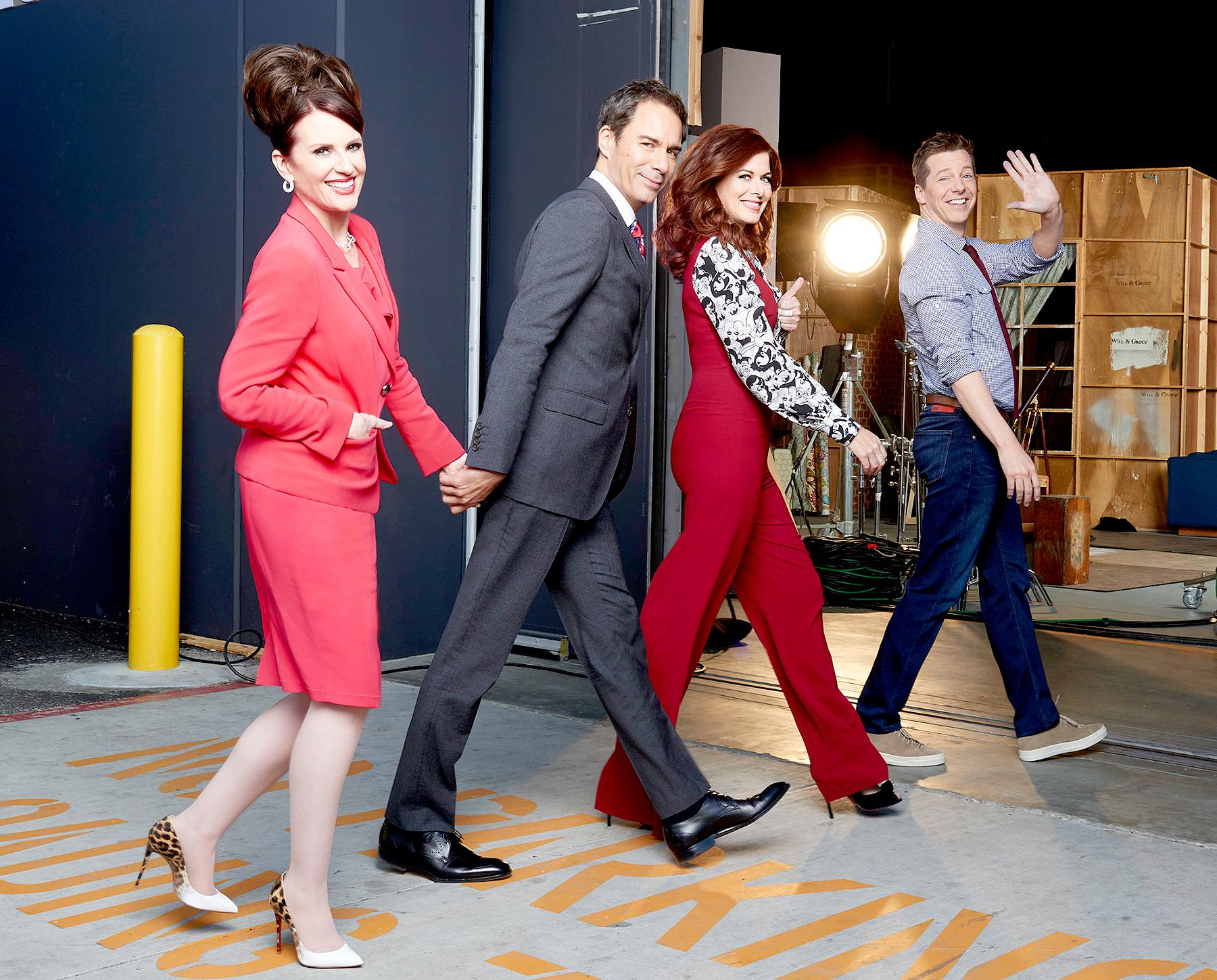 Megan Mullally as Karen Walker, Eric McCormack as Will Truman, Debra Messing as Grace Adler, Sean Hayes as Jack McFarland