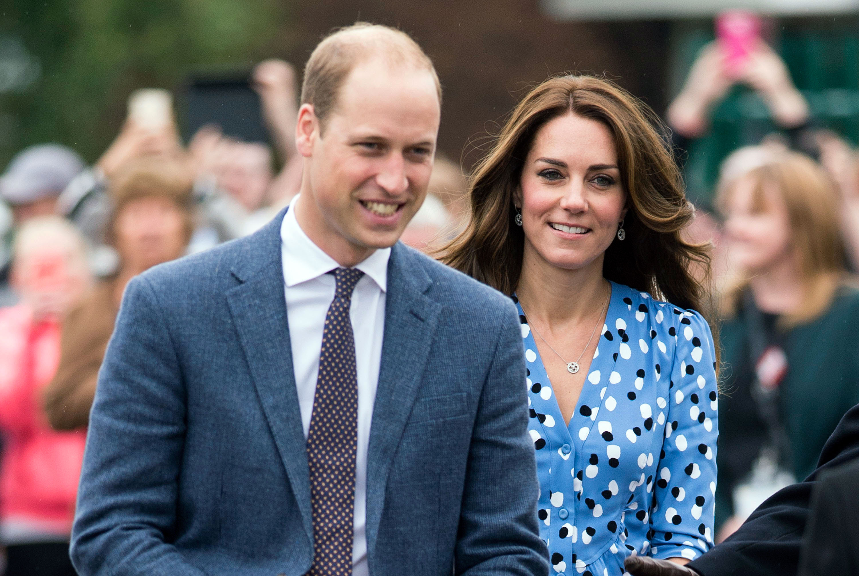 Kate Middleton Flashes Legs in Blue Printed Slit Dress