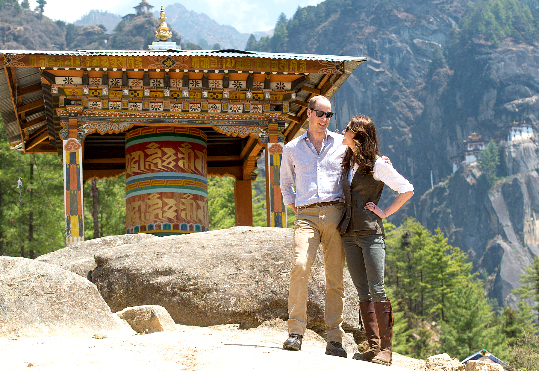 Prince William, Duke of Cambridge and Catherine, Duchess of Cambridge half way on their hike to Paro Taktsang, the Tiger's Nest monastery on April 15, 2016 in Paro, Bhutan.