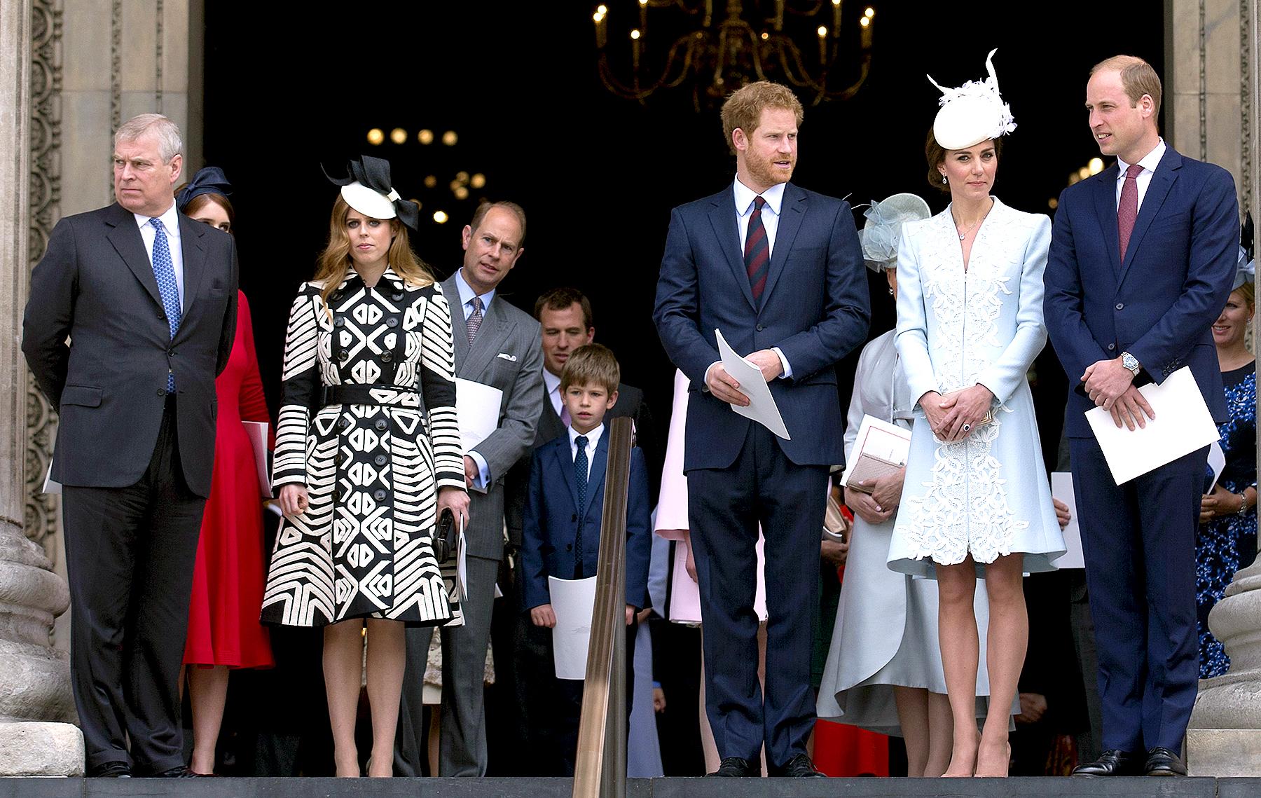 Britain's Prince Andrew (L), Britain's Princess Eugenie of York (2nd L), Britain's Princess Beatrice of York (3rd L), Britain's Prince Edward, Earl of Wessex (4th L), Britain's Prince Harry (3rd R), Britain's Catherine, Duchess of Cambridge (2nd R) and Britain's Prince William, Duke of Cambridge (R).