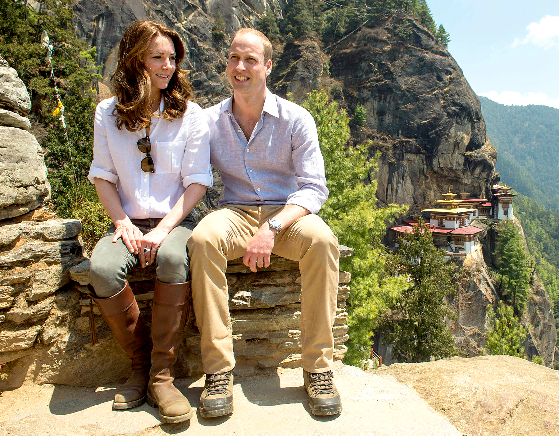 Catherine, Duchess of Cambridge and Prince William, Duke of Cambridge overlook the Tiger's Nest Monastery during a visit to Bhutan on the 15th April 2016 in Thimphu, Bhutan.