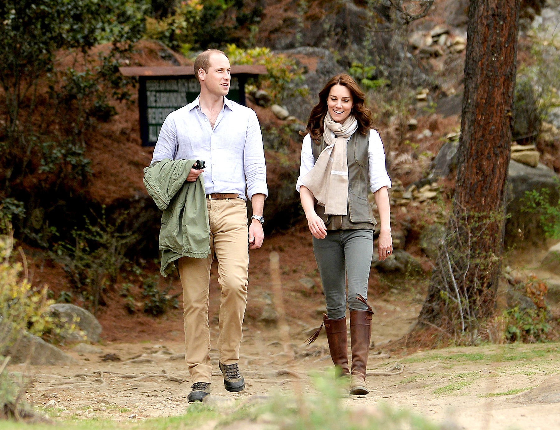 Catherine, Duchess of Cambridge and Prince William, Duke of Cambridge hike to Paro Taktsang, the Tiger's Nest monastery on April 15, 2016 in Paro, Bhutan.