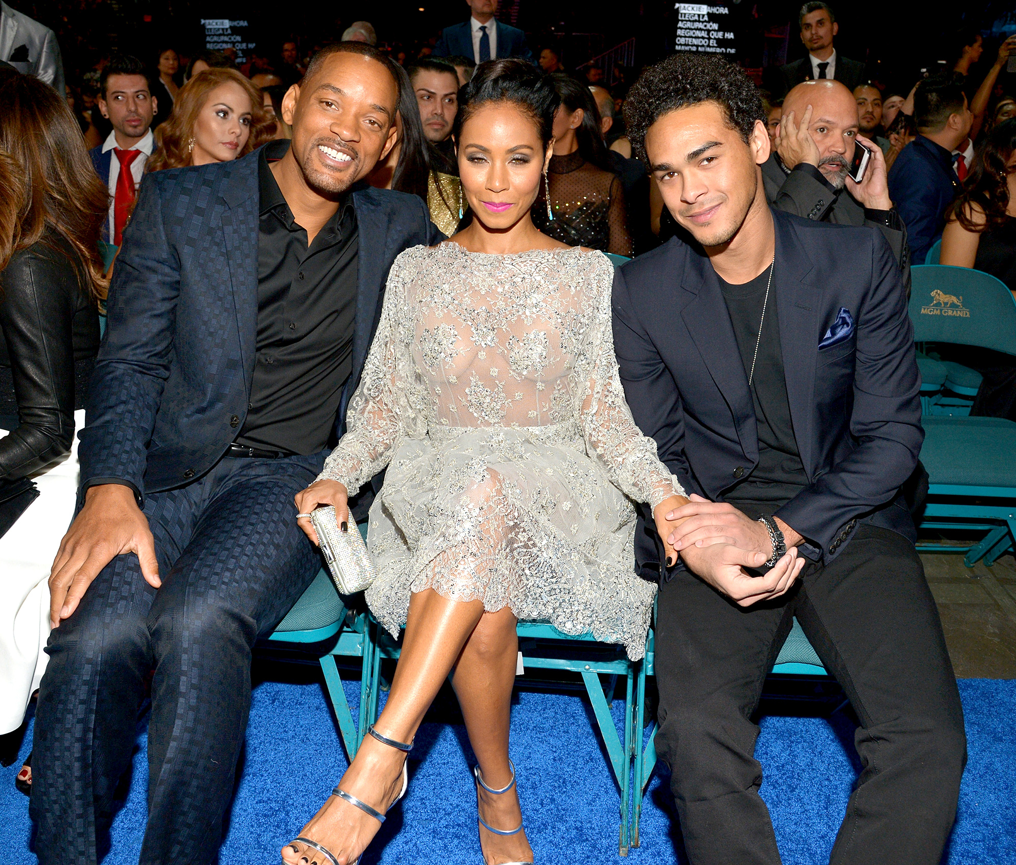 Will Smith, Jada Pinkett Smith and Trey Smith attend the 16th Latin GRAMMY Awards at the MGM Grand Garden Arena on November 19, 2015 in Las Vegas, Nevada.
